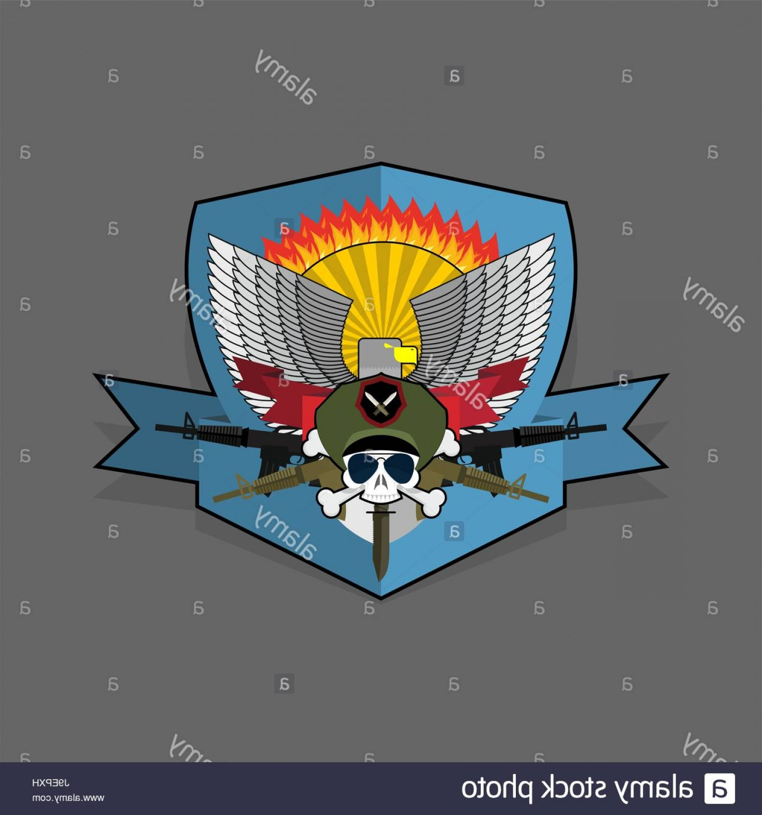 Vector Special Forces Helmet: Stock Photo Special Forces Emblem Military Logo Embroidery Skull Helmet With Machine