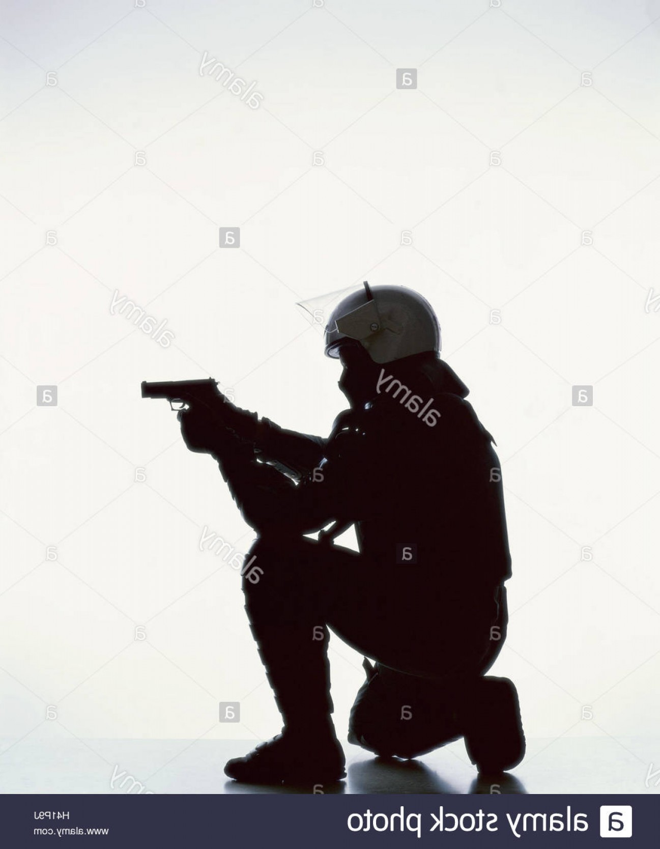 Vector Police Officer Kneeling: Stock Photo Special Task Force Silhouette Policeman Kneel Weapon Aim Side View