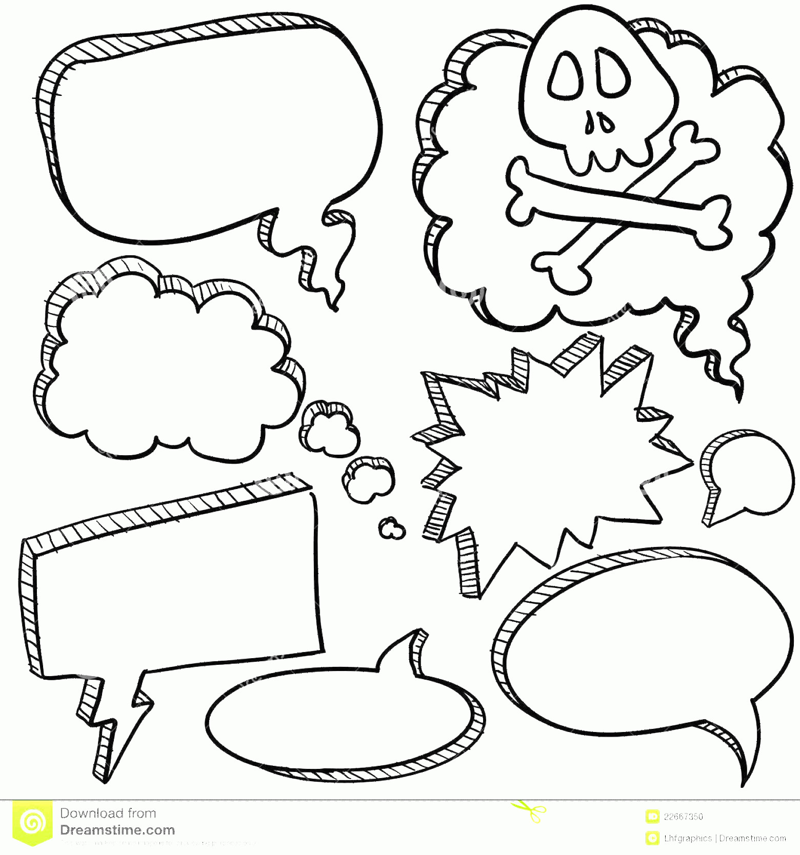 Thought Bubble Vector Sketch: Stock Photo Speech Bubble Sketch Image