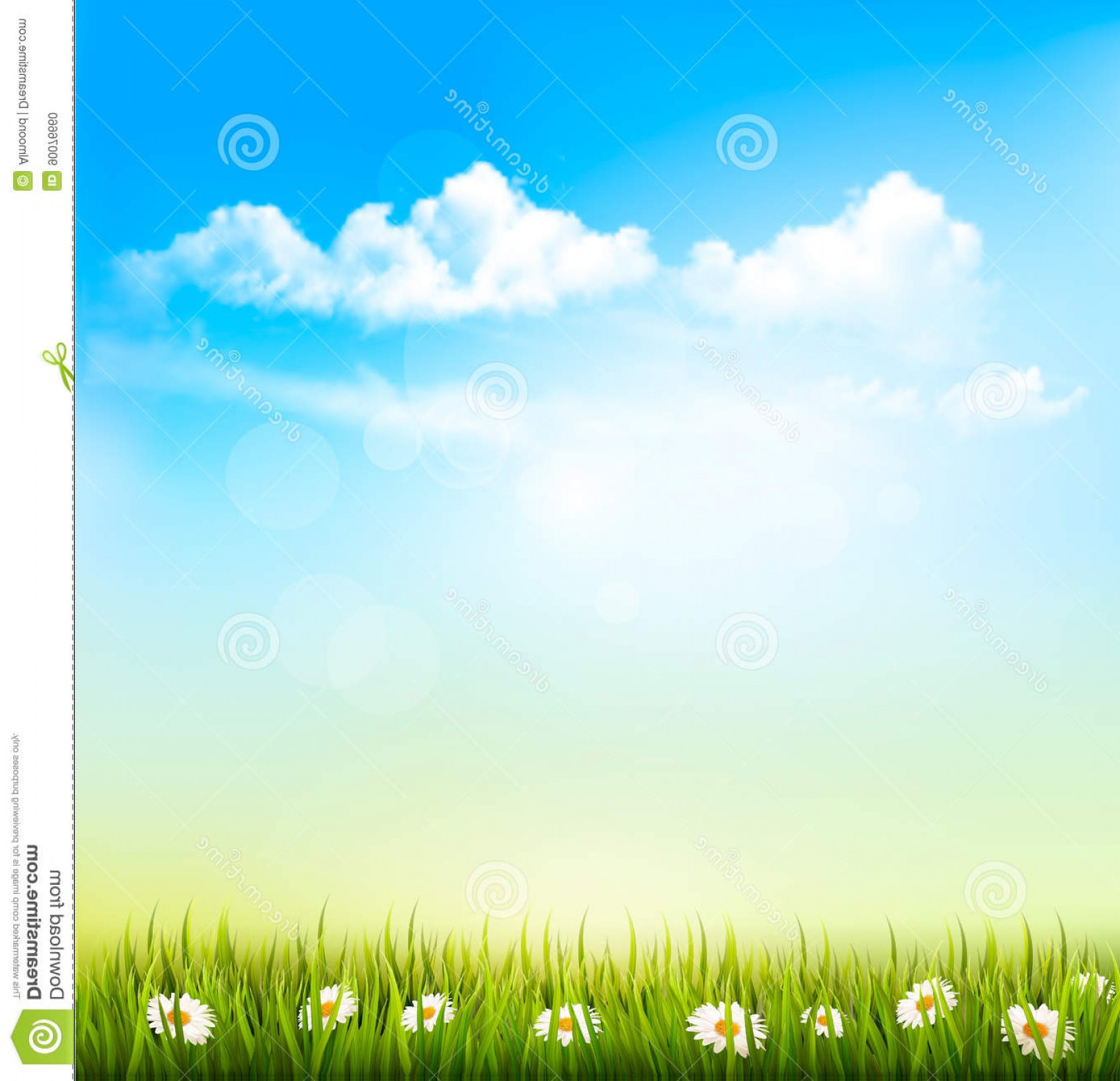 Vector Natural Background Sky: Stock Photo Spring Nature Background Green Grass Blue Sky Clouds Vector Image
