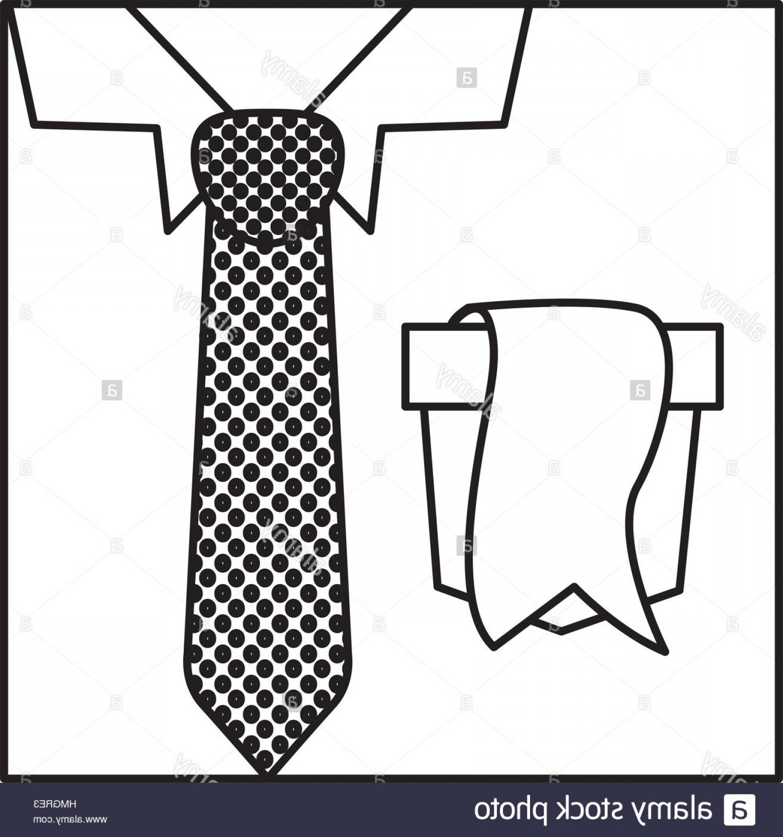 Vector Pocket Silhouette Shirt: Stock Photo Square Border Silhouette With Close Up Formal Shirt With Dotted Necktie