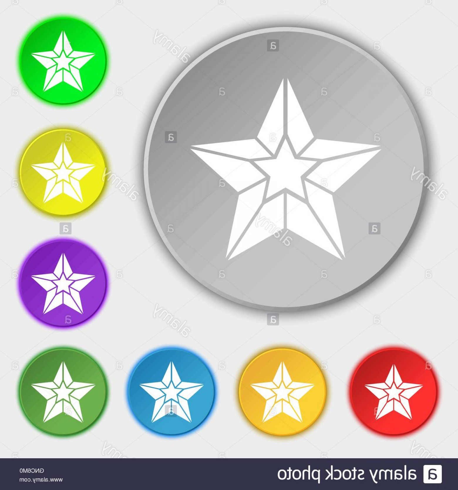 Buttons Vector Art: Stock Photo Star Icon Sign Symbol On Eight Flat Buttons Vector