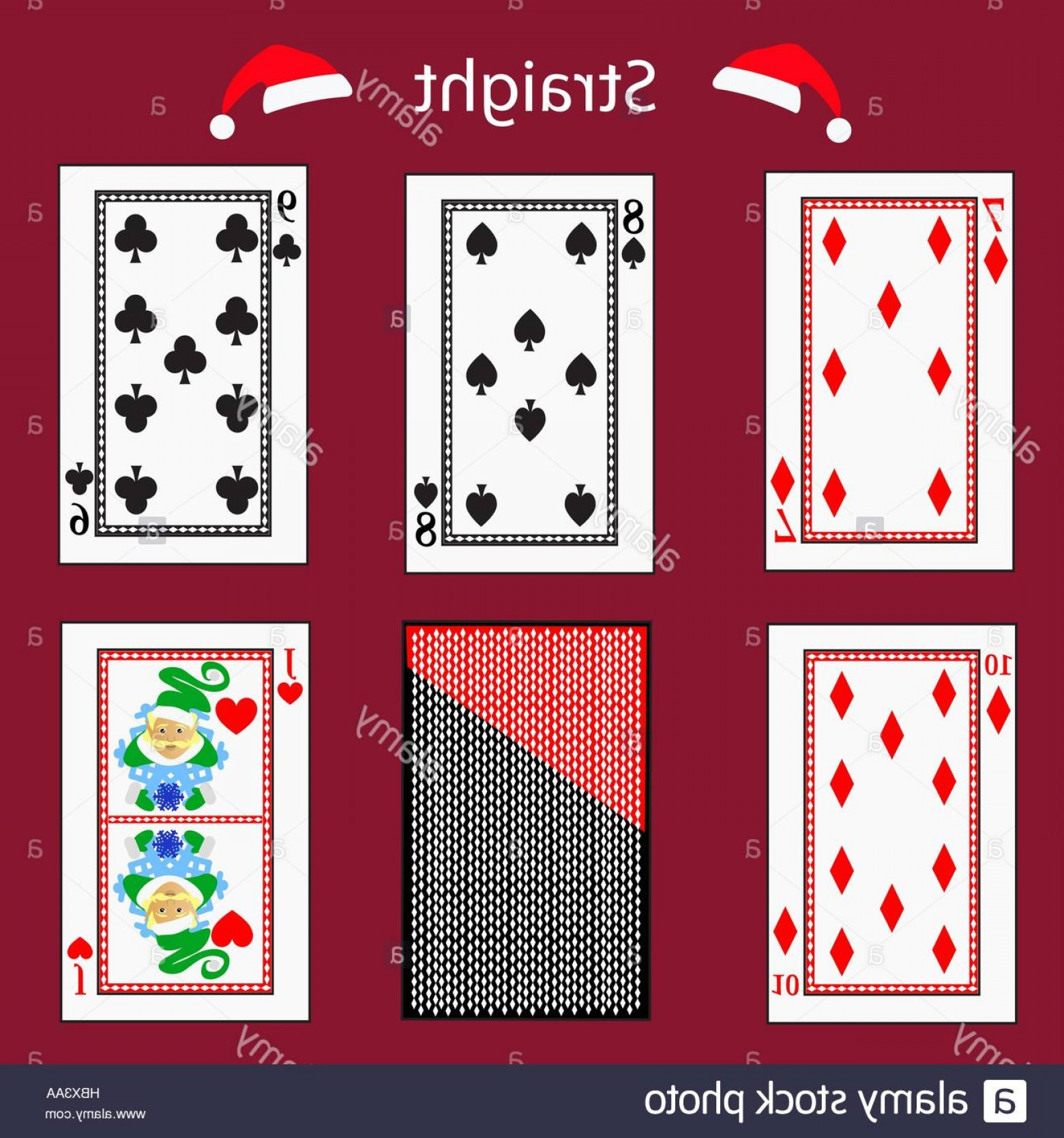 10 Playing Card Vector: Stock Photo Straight Playing Card Poker Combination Vector Illustration Eps