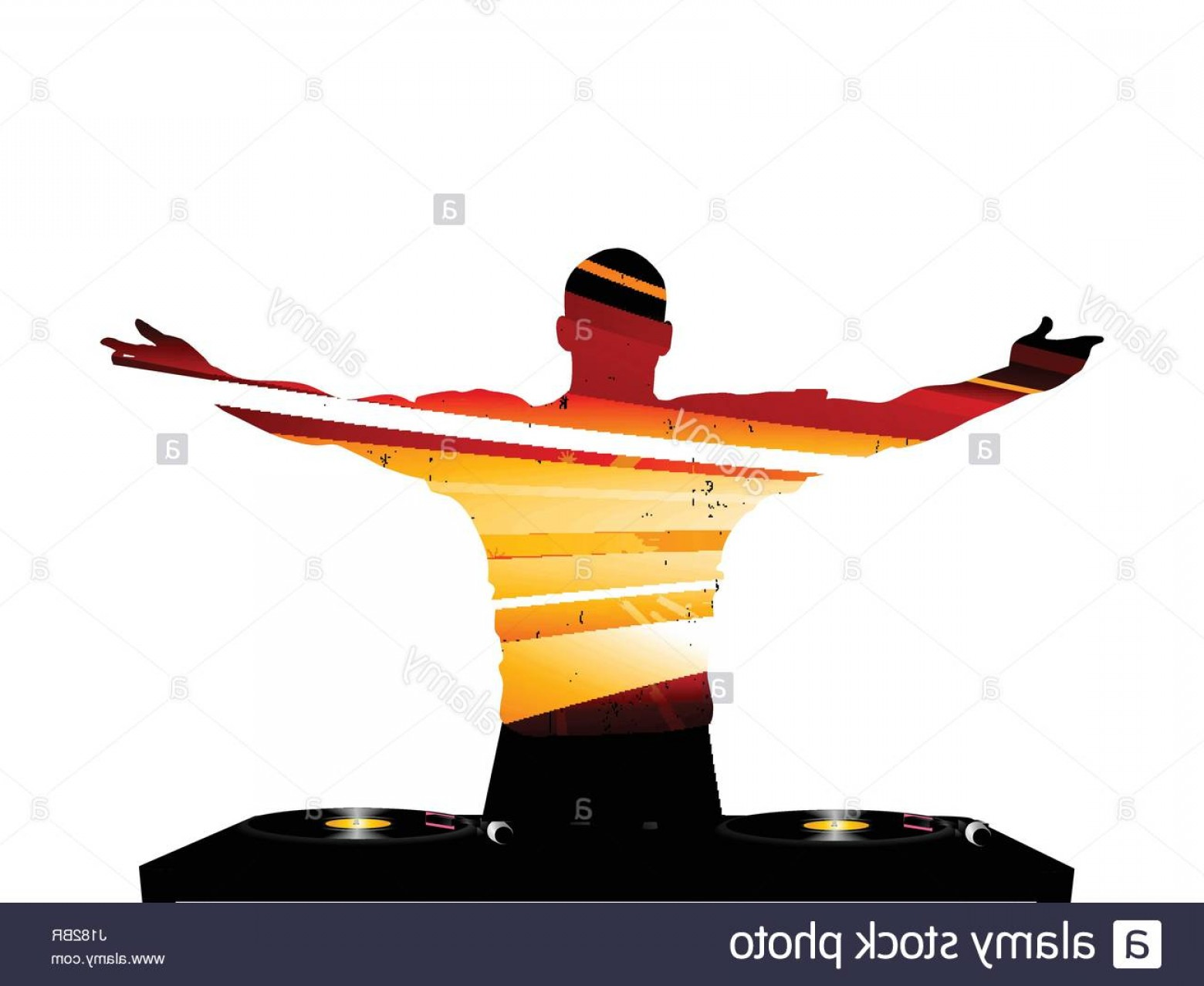 Vector DjDecks: Stock Photo Striped Dj Silhouette With Record Deck Over White Background