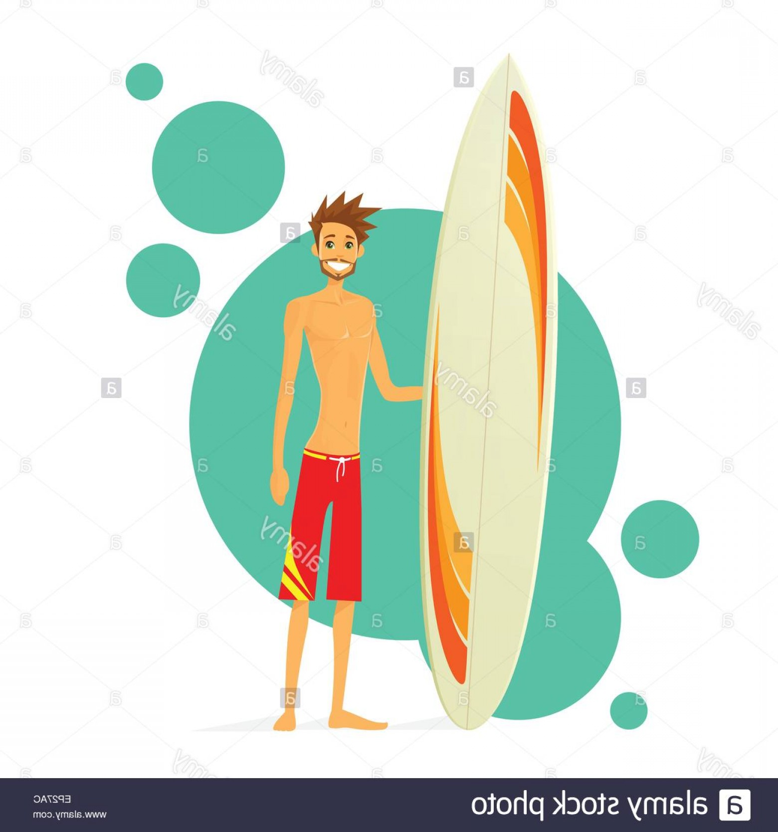 Stand Up Paddle Boarder Vector: Stock Photo Surfer Man With Surfing Board Flat Icon