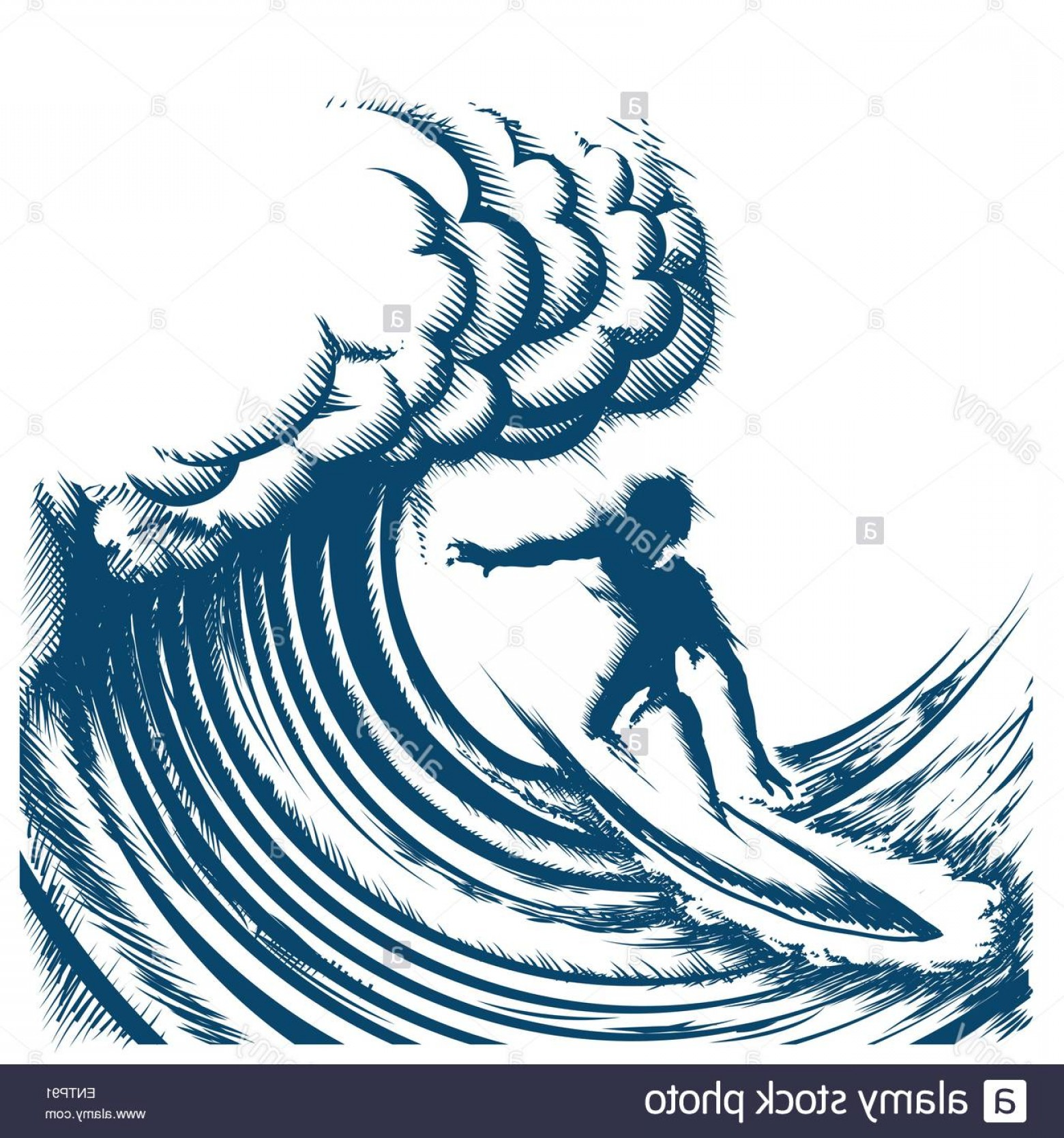 Waves With Surfer Silhouette Vector: Stock Photo Surfer Riding Big Wave Drawn In Retro Engraving Style Isolated On
