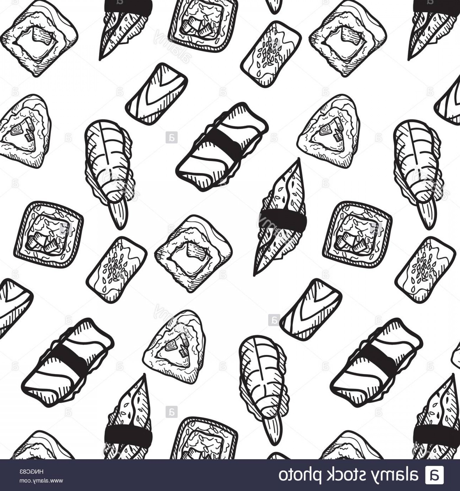 Sushi Vector Art: Stock Photo Sushi Vector Sketch Set Hand Drawn Design Elements