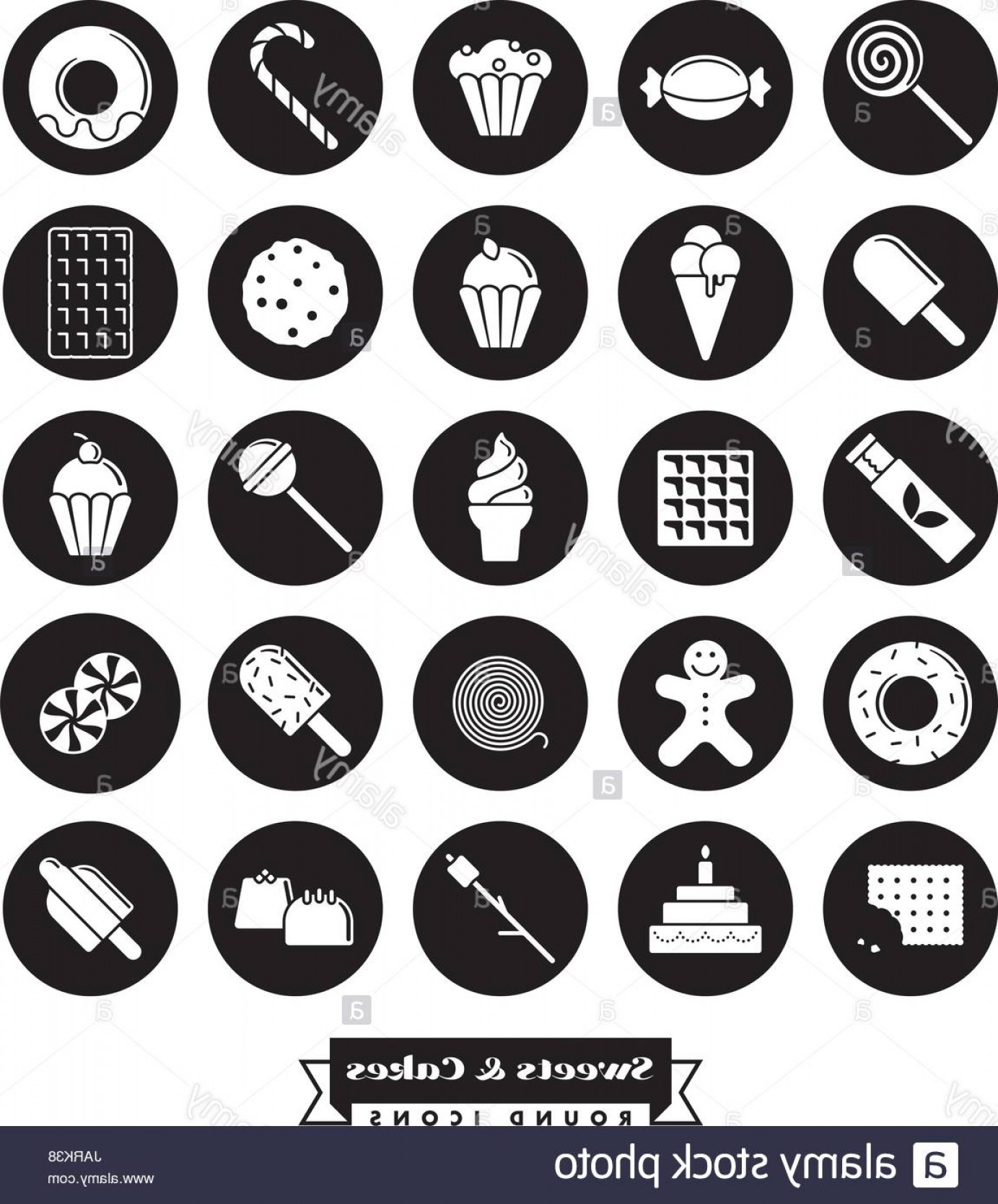 Black And White Candy Vector: Stock Photo Sweets Cakes Candy Vector Glyph Icon Collection Negative In Black