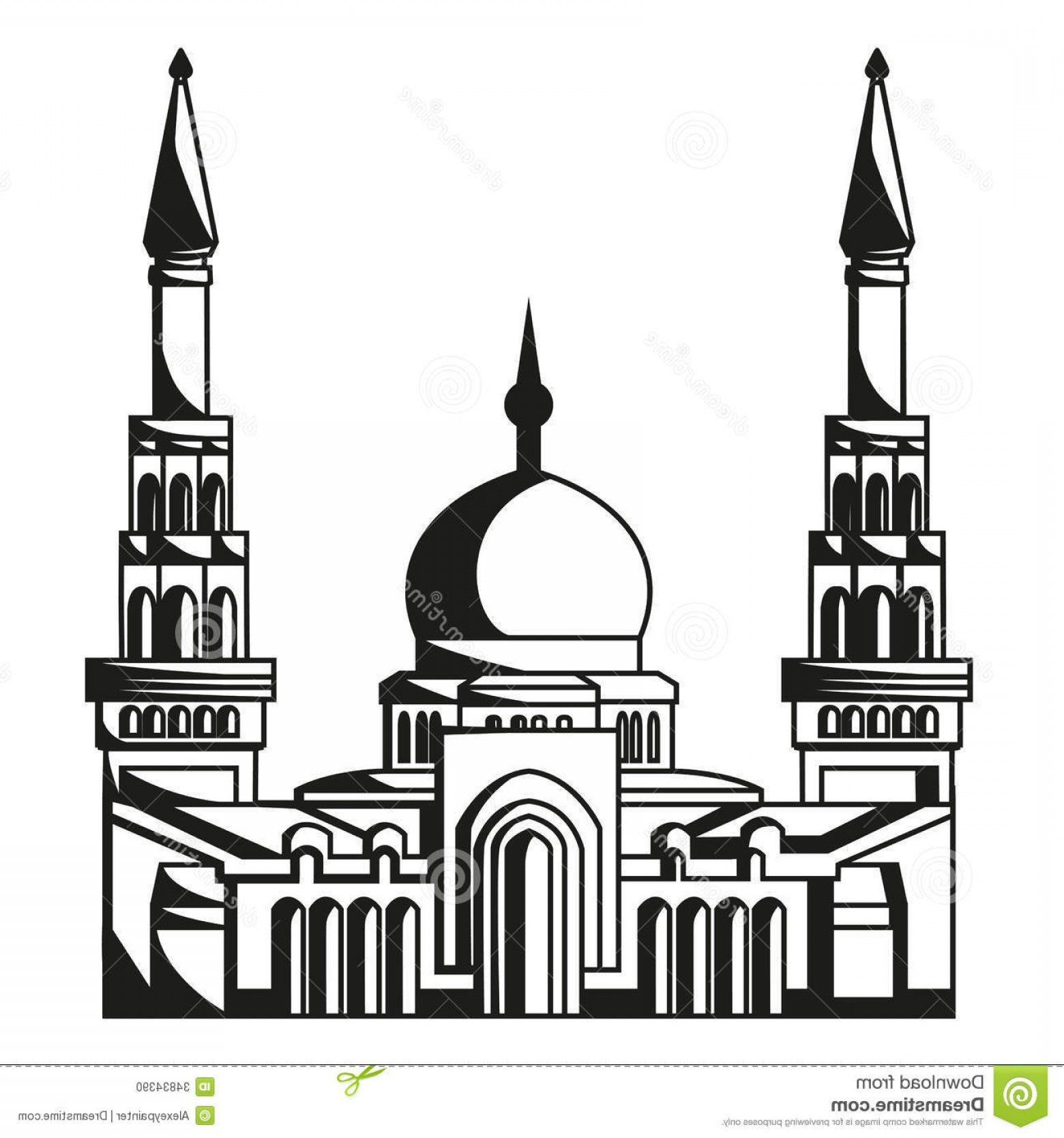 Mosque Vector Map: Stock Photo Symbol Islam Silhouette Mosque Ramadan Vector Isolated Image