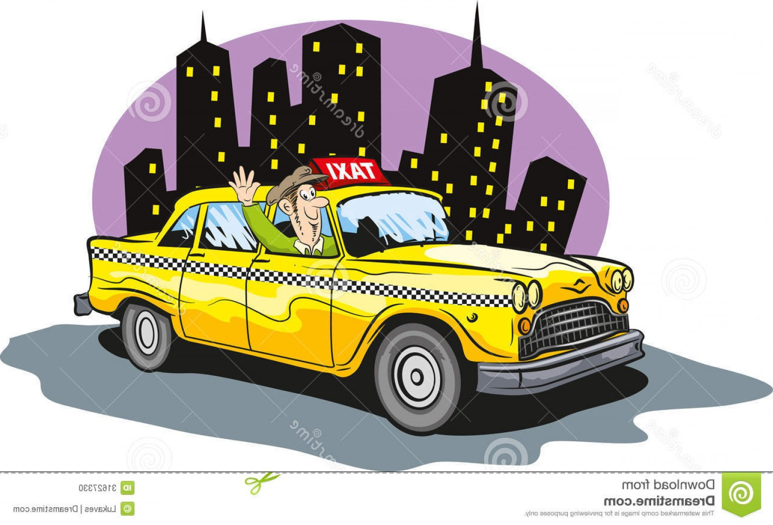 Vector Taxi Cab Driver: Stock Photo Taxi Cab Vector Illustration Driver Image