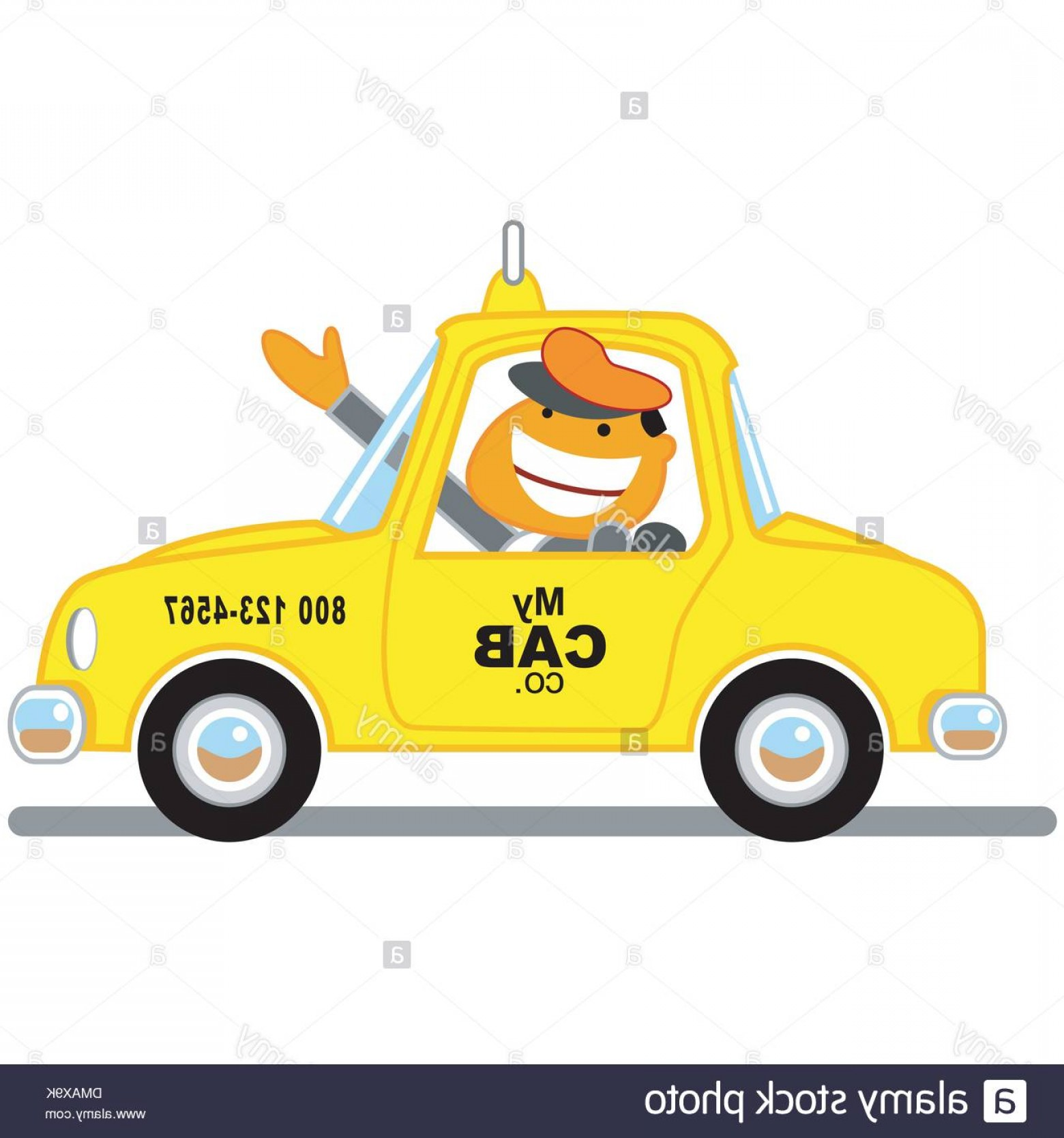 Vector Taxi Cab Driver: Stock Photo Taxi Driver Vector Cartoon