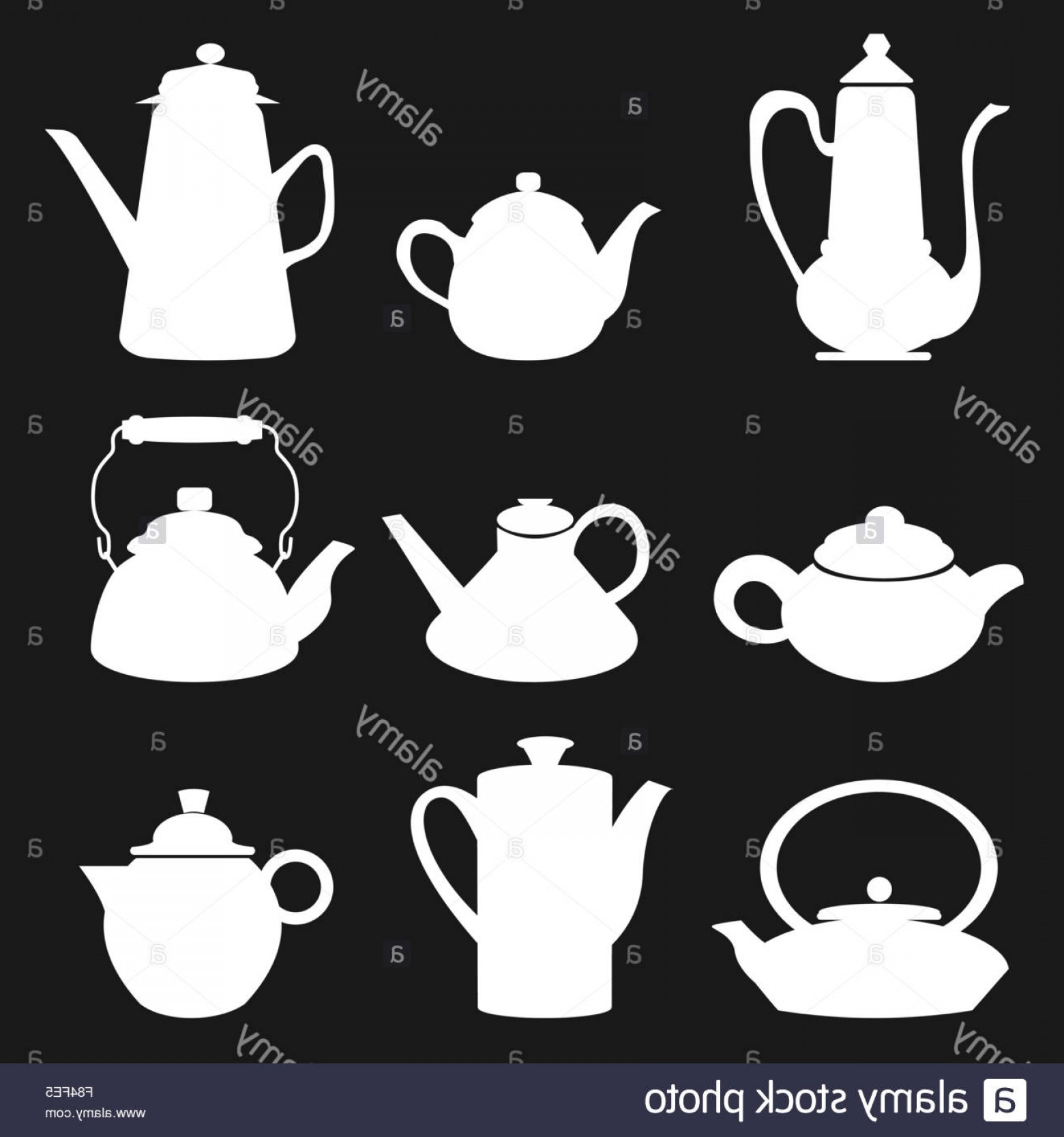 Tea Set Vector: Stock Photo Tea Coffee Icon Black Silhouette Kettle Diferent Retro Set Vector