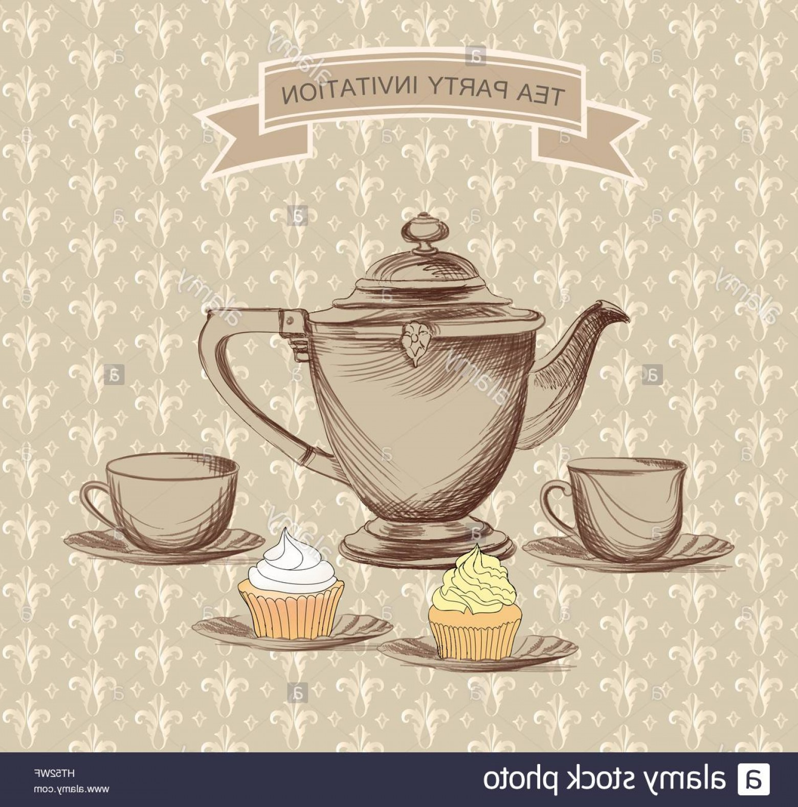 Vintage Tea Cup Vector: Stock Photo Tea Cup Pot Kettle Retro Card Tea Time Vintage Label Set Hot Drinks