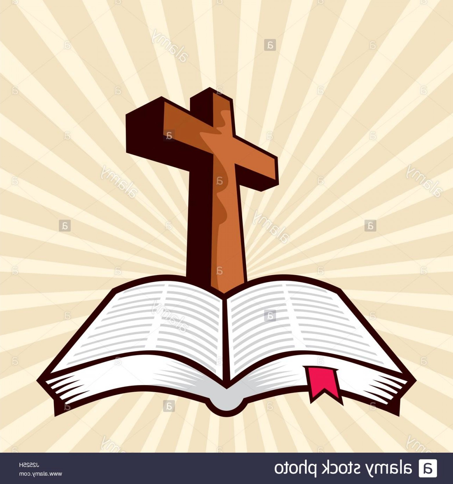Open Bible Vector Art: Stock Photo The Cross Of Jesus And The Open Bible