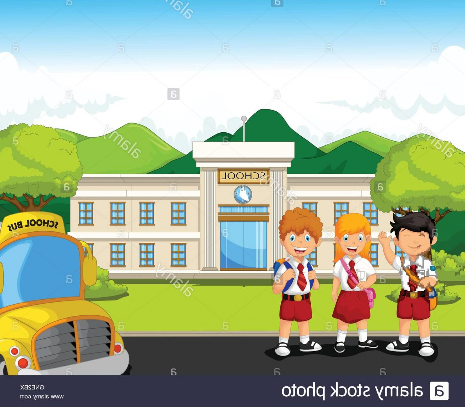 Vector Background Clip Art: Stock Photo Three Student Waiting School Bus With School Building Background