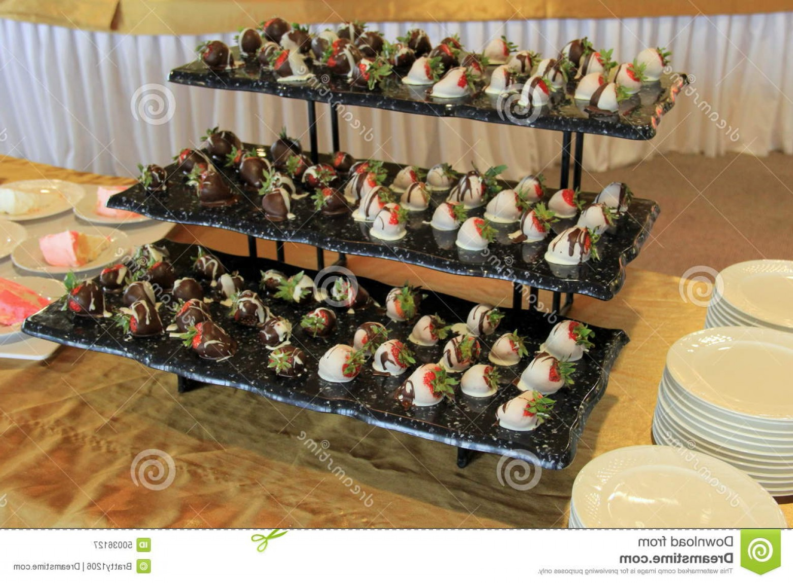 Vector 3 Tier Tray: Stock Photo Three Tier Tray Chocolate Dipped Berries Covered Delicious Strawberries Drizzled White Milk Dark Set Image