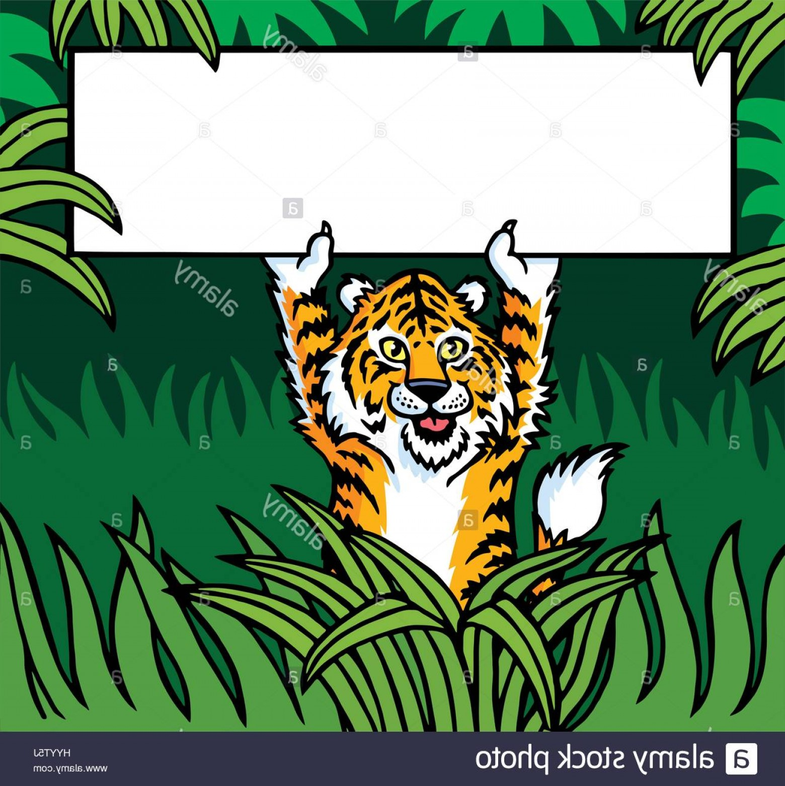 Green Tiger Vector: Stock Photo Tiger Holding A Sign Vector Illustration