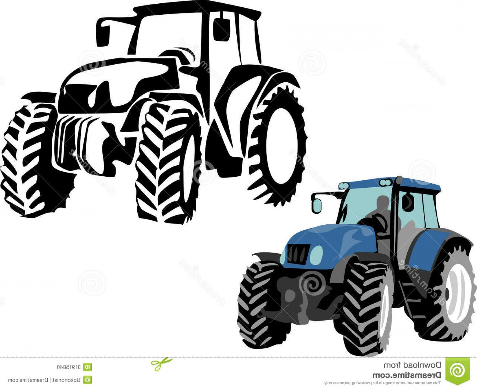 Free Tractor Vector: Stock Photo Tractor Stylized Black Color Illustrations Image