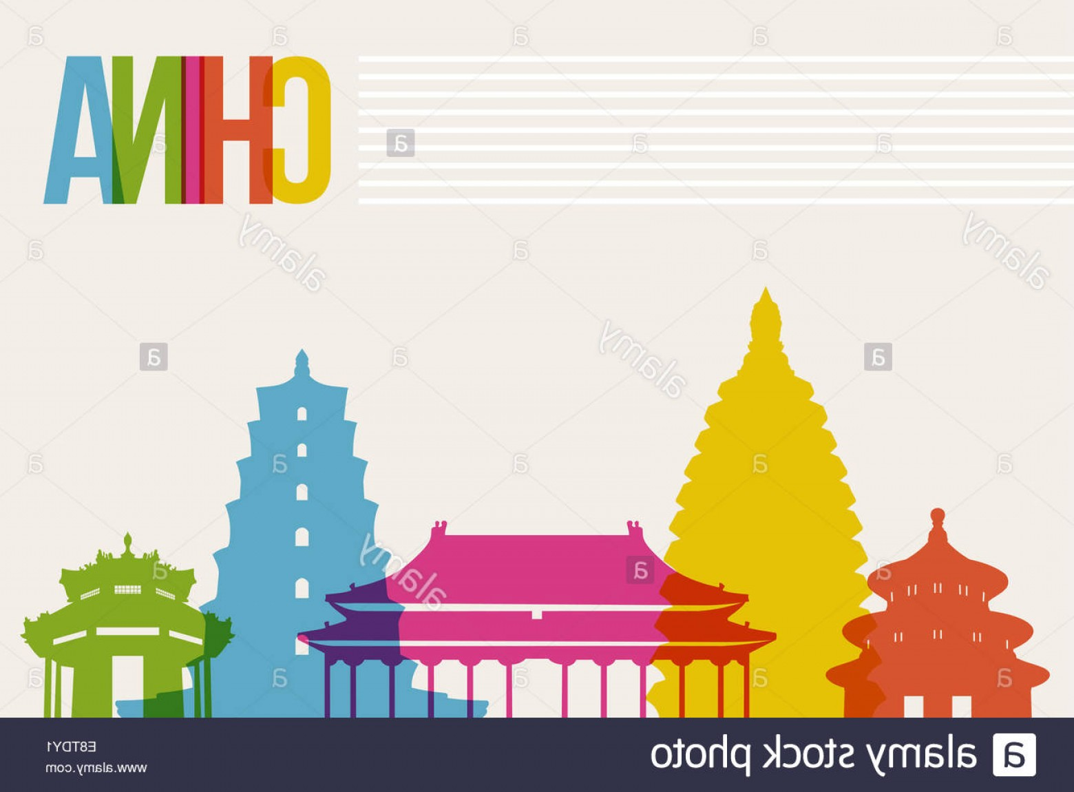 Famous Easy Vectors: Stock Photo Travel China Famous Landmarks Skyline Multicolored Design Background