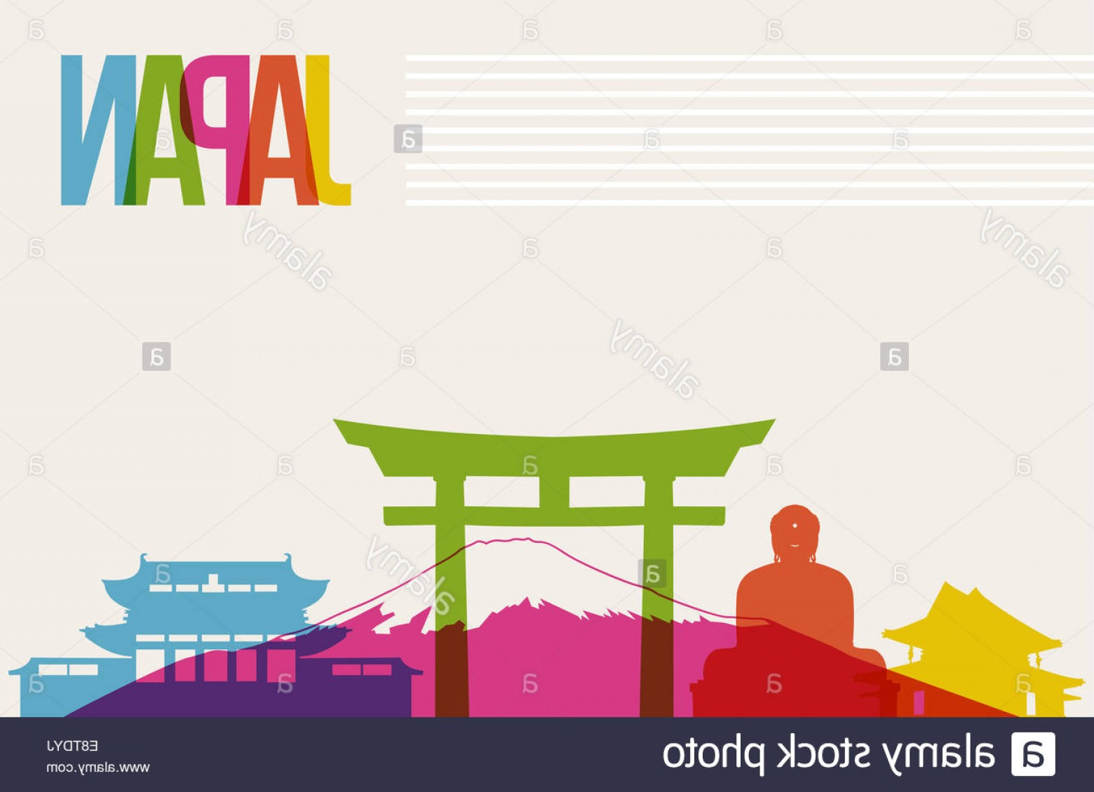 Famous Easy Vectors: Stock Photo Travel Japan Famous Landmarks Skyline Multicolored Design Background