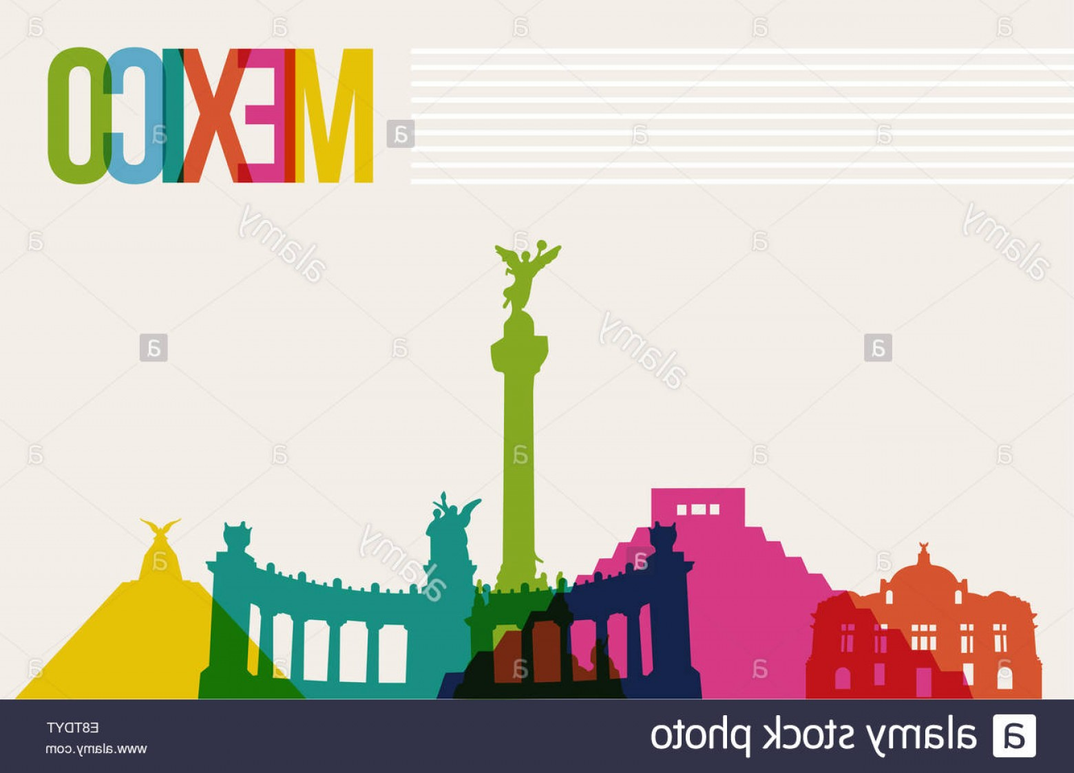 Famous Easy Vectors: Stock Photo Travel Mexico Famous Landmarks Skyline Multicolored Design Background