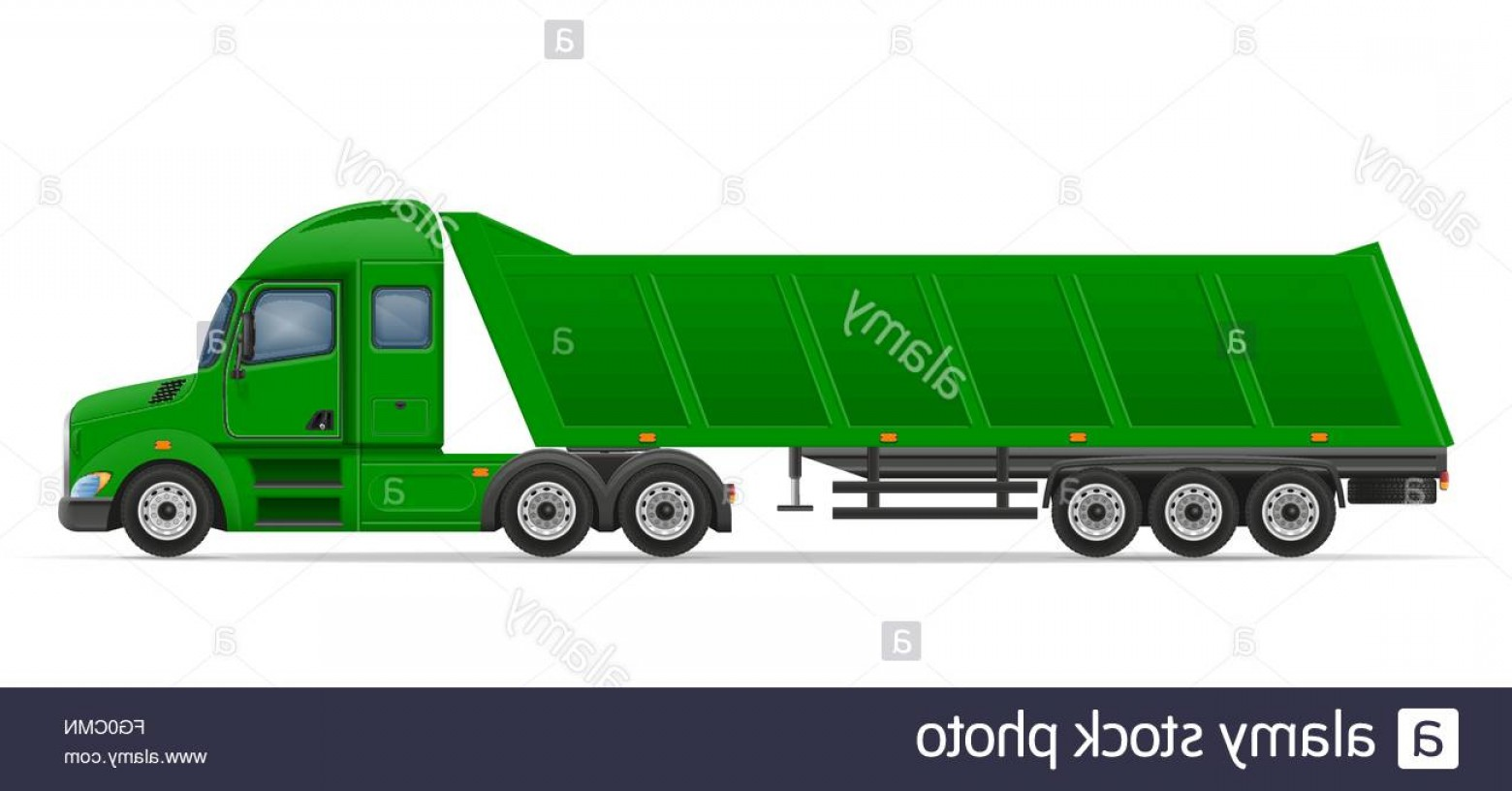Vector Semi Tanker: Stock Photo Truck Semi Trailer For Transportation Of Goods Vector Illustration