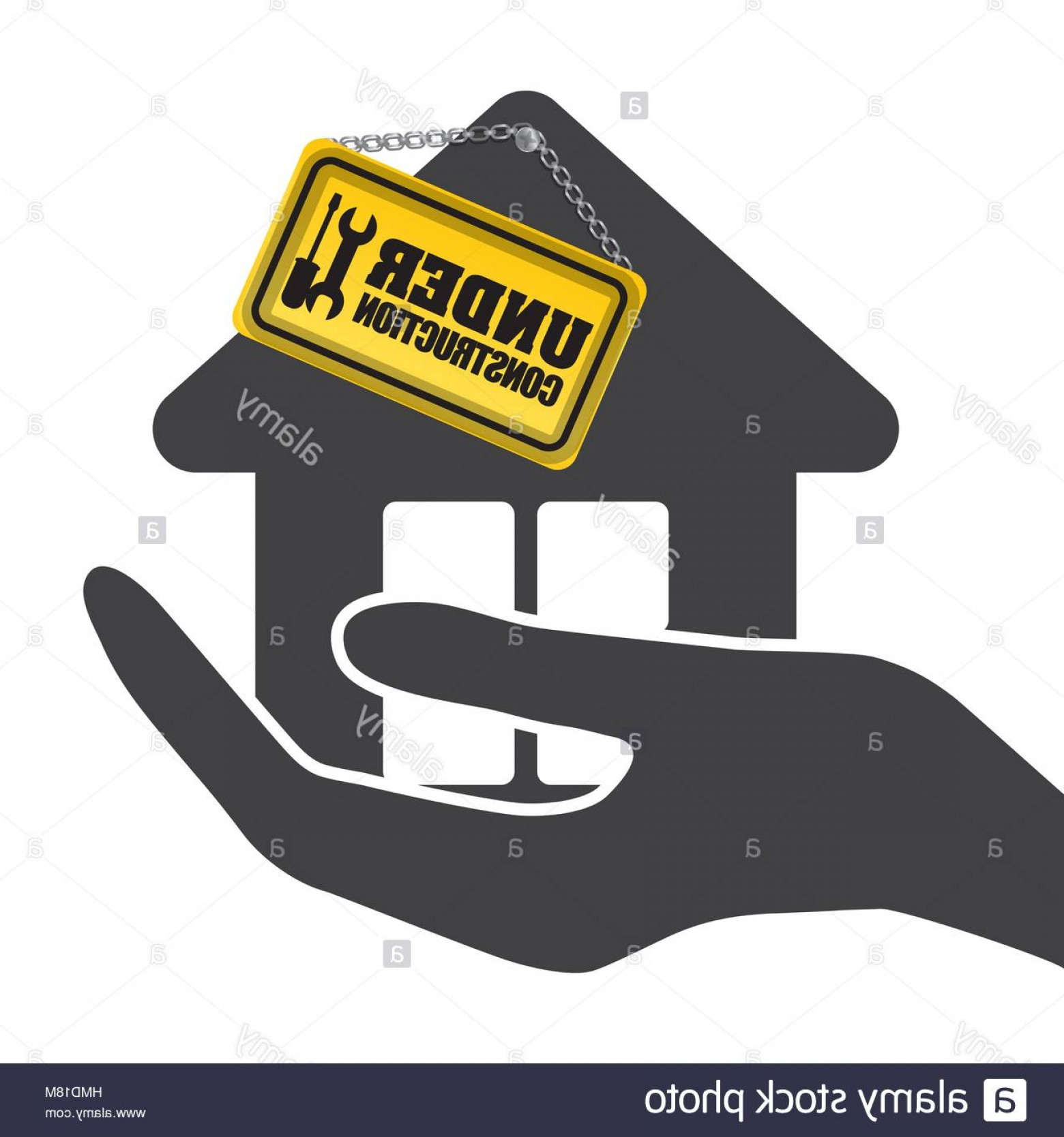 Vector House Sign: Stock Photo Under Construction Hand Hold House Sign Vector Illustration Eps