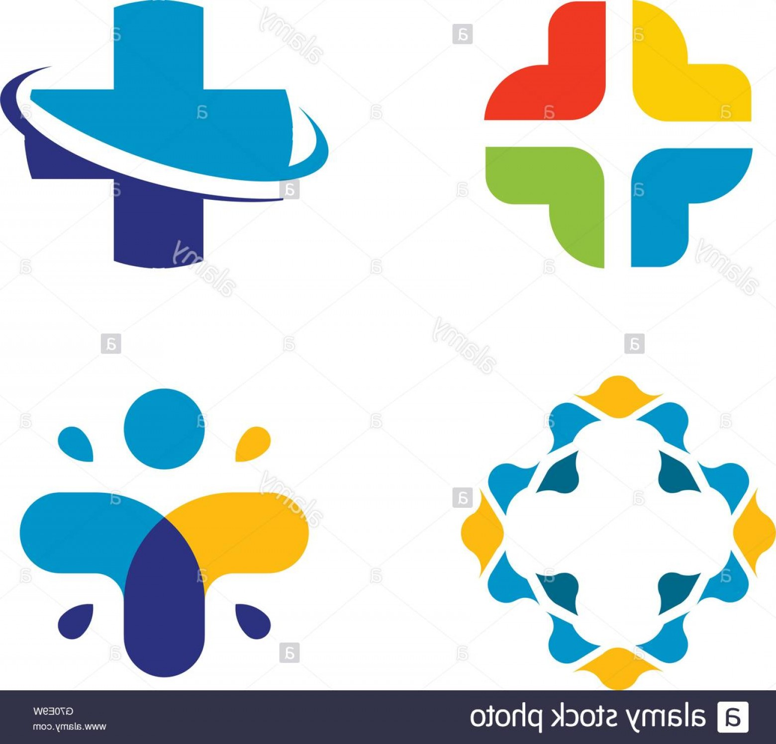 Cross Vector Logos: Stock Photo Unusual Cross Vector Logo Set Healthcare Isolated Symbol Colorful
