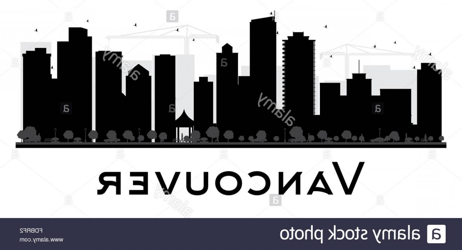 Vancouver Skyline Vector: Stock Photo Vancouver City Skyline Black And White Silhouette Vector Illustration