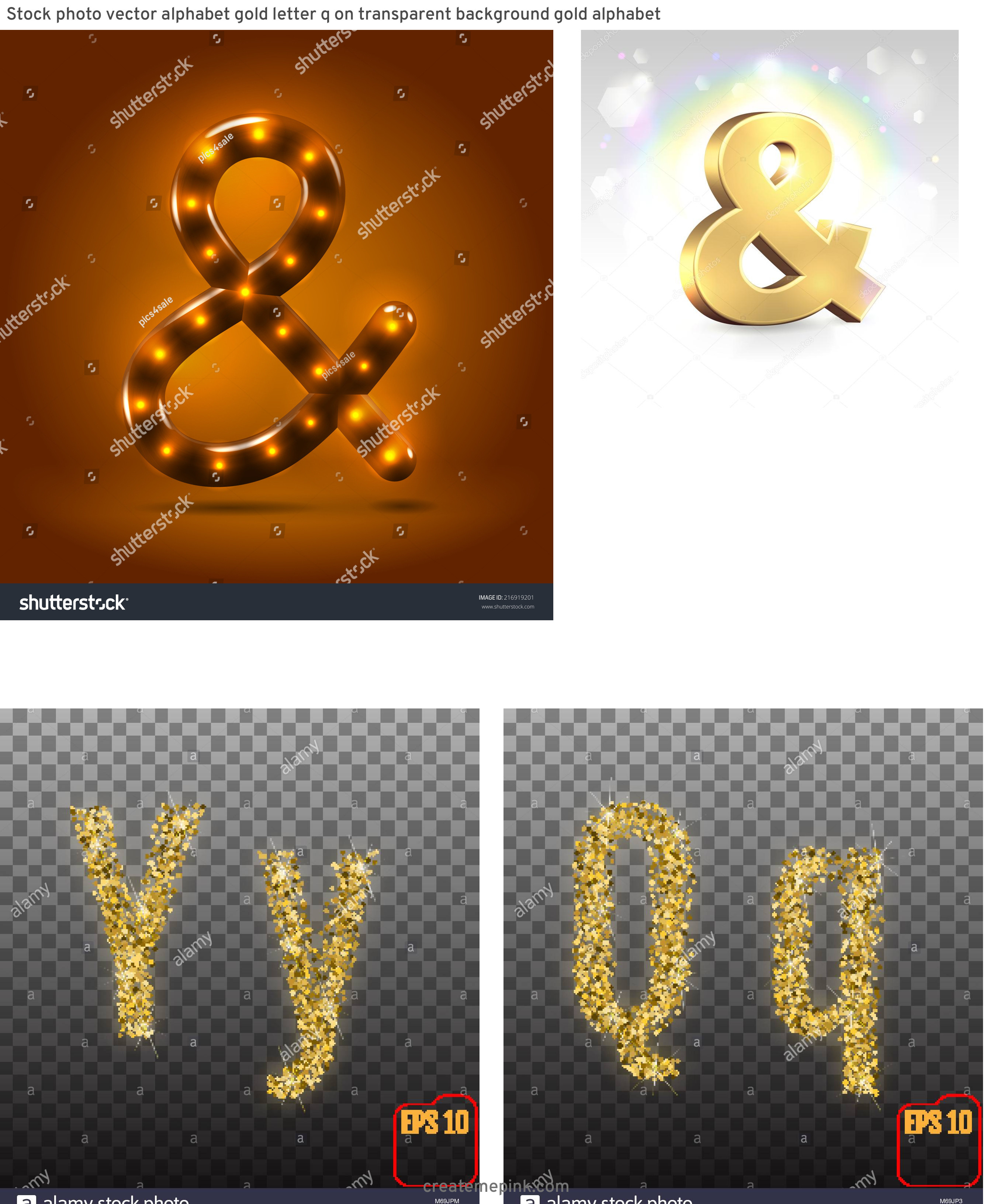 Lighted Ampersand Vector: Stock Photo Vector Alphabet Gold Letter Q On Transparent Background Gold Alphabet