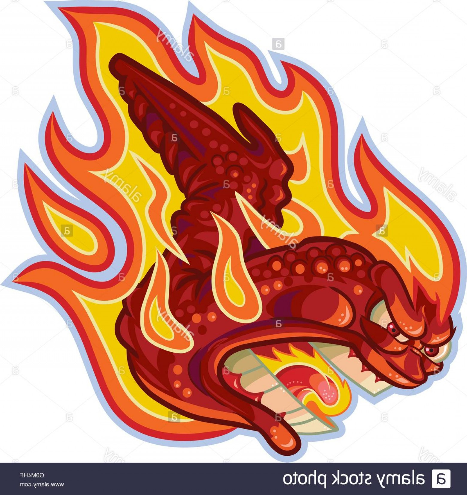 Fire Clip Art Vector: Stock Photo Vector Cartoon Clip Art Illustration Of An Angry Buffalo Or Hot Chicken