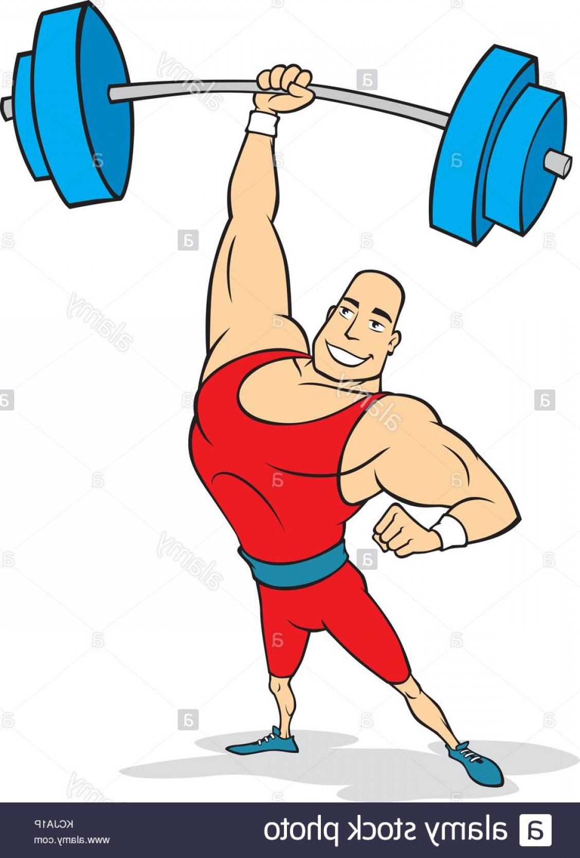 Weightlifter Vector Art: Stock Photo Vector Cartoon Of A Weightlifter In Red Leotard