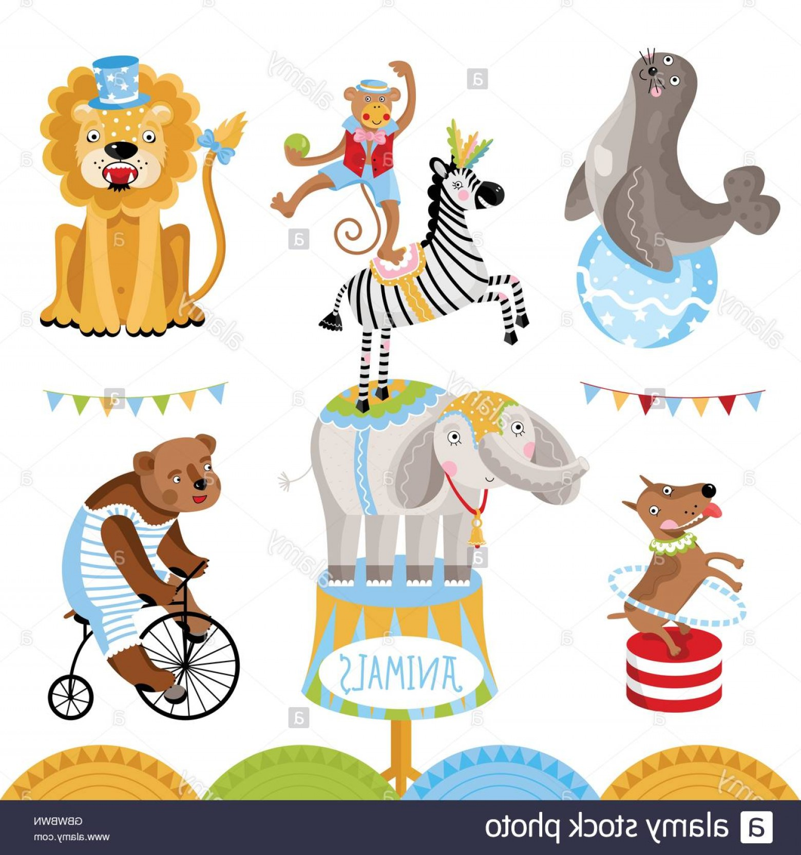 Circus Animals Vector Graphic: Stock Photo Vector Circus Animals Perform Tricks