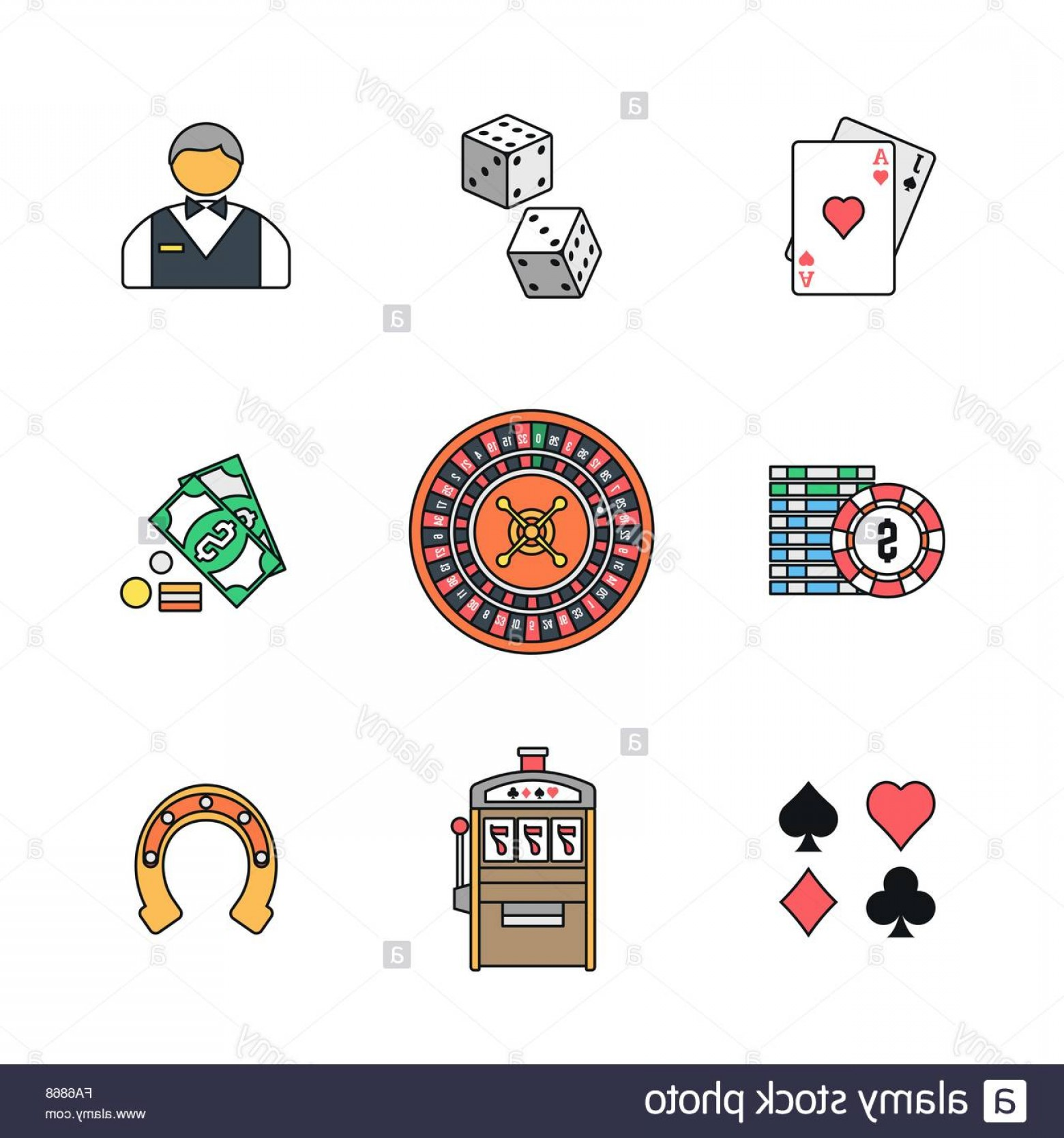 Card Suits Vector Outlines: Stock Photo Vector Colored Outline Various Gambling Signs Blackjack Dice Croupier