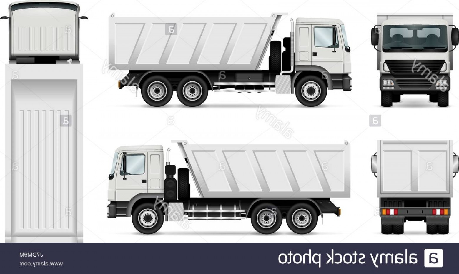 Dump Truck Vector Black And White: Stock Photo Vector Dump Truck Isolated White Tipper Lorry All Elements In The