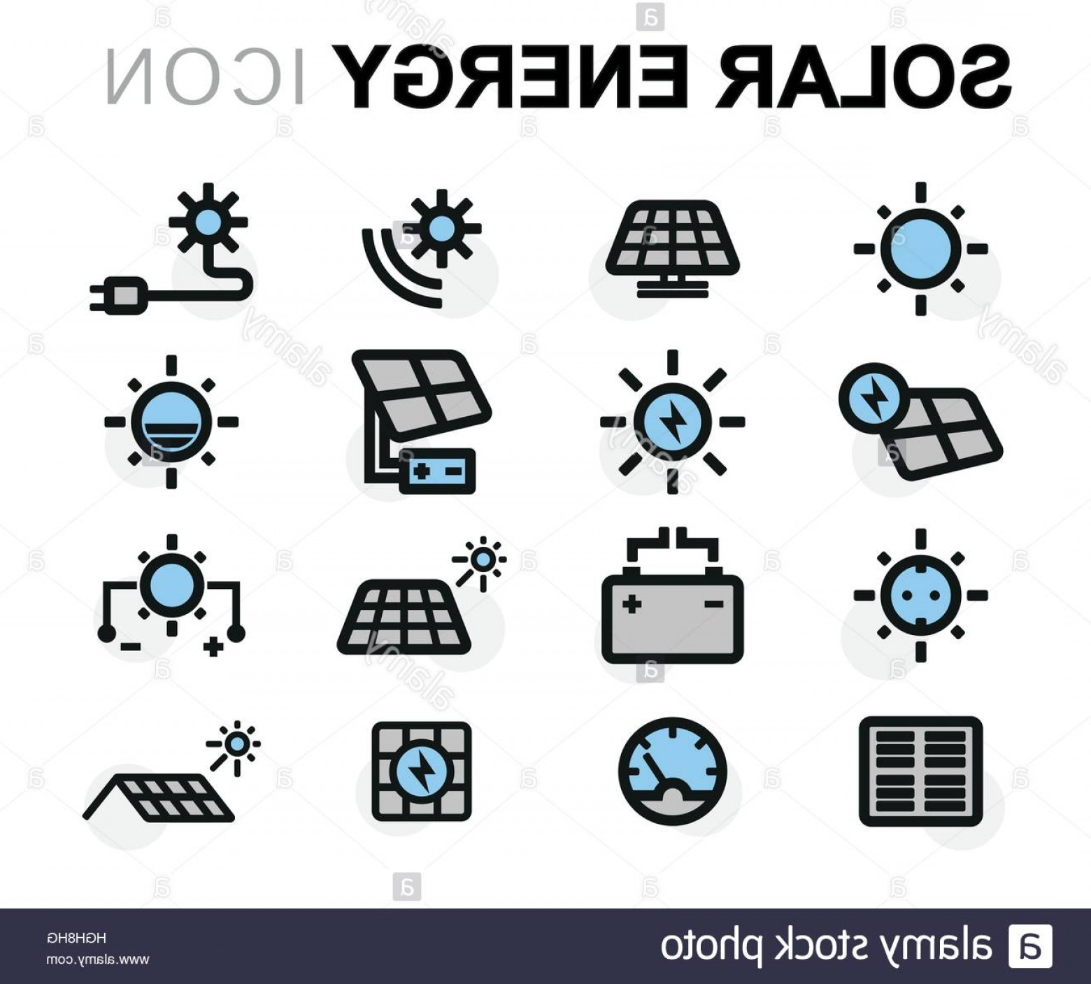 Solar Icon Vector: Stock Photo Vector Flat Solar Energy Icons Set