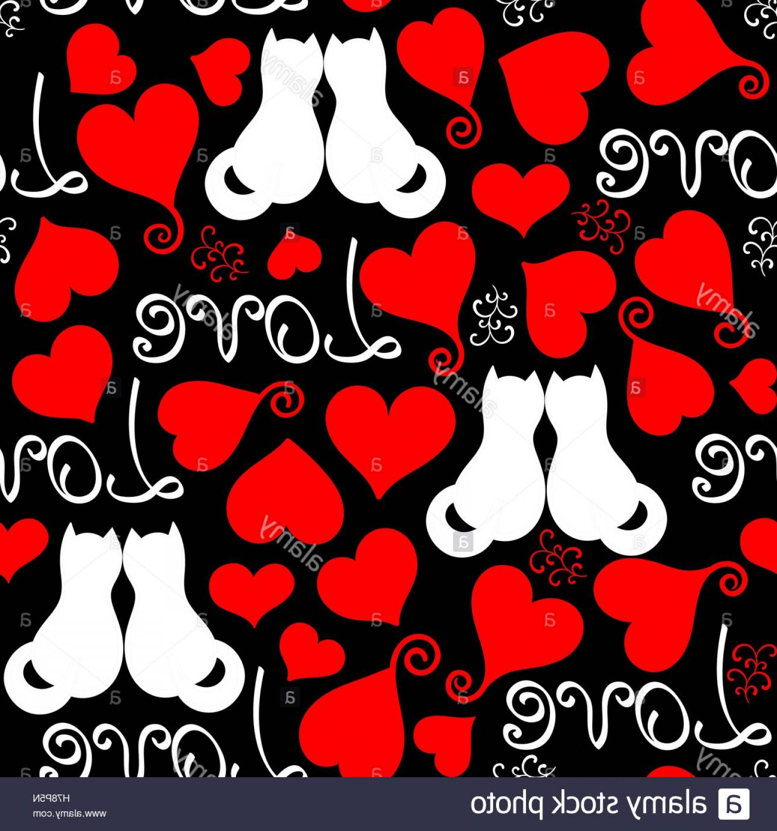 Red Black And White Vector Art: Stock Photo Vector Hand Drawn Line Red Black And White Hearts Lettering And Cats