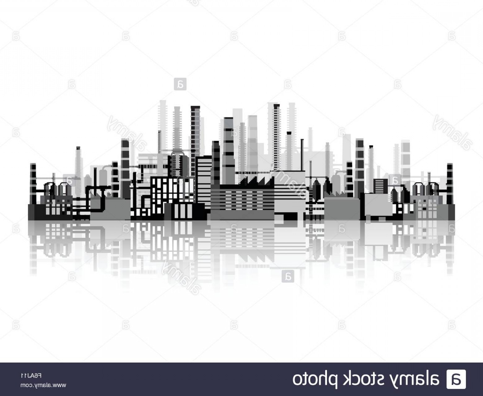 Factory Vector Skyline: Stock Photo Vector Illustration Industry Power Plant Factory Industrial Silhouettes