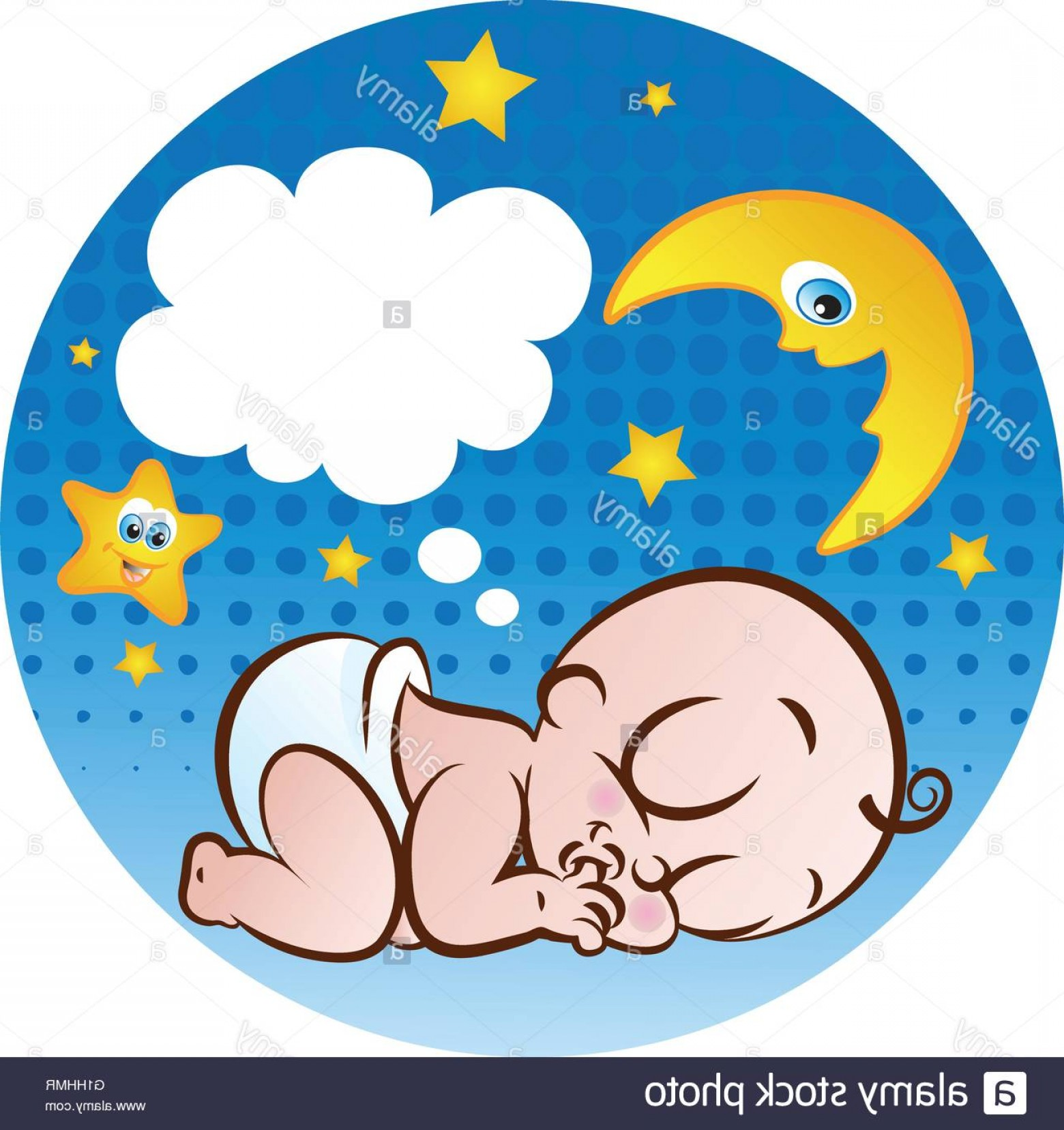 Sleeping Baby Vector: Stock Photo Vector Illustration Of A Cute Sleeping Baby Boy Sucking His Thumb