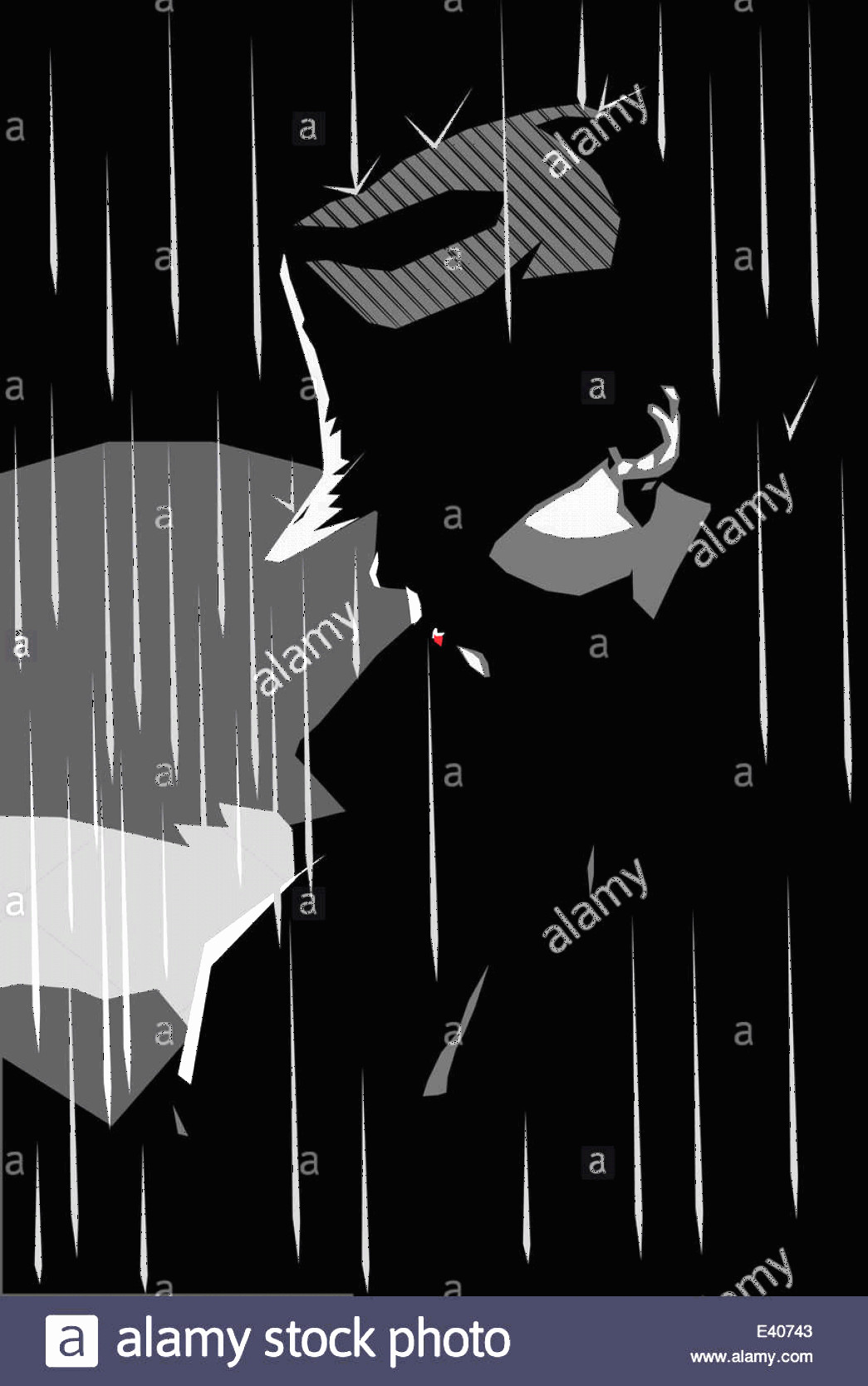 Noire Portrait Vector: Stock Photo Vector Illustration Of A Girl In A Jacket And Hat With Rainy Background