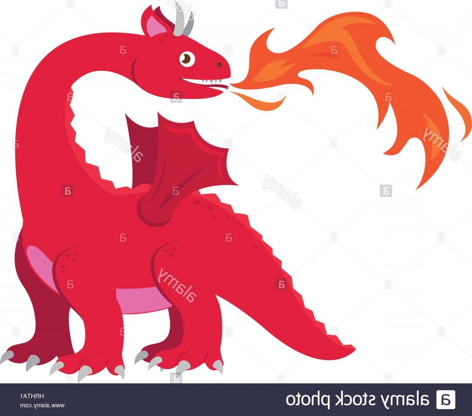 Dragon Fire Vector: Stock Photo Vector Illustration Of A Red Dragon Breathing Fire