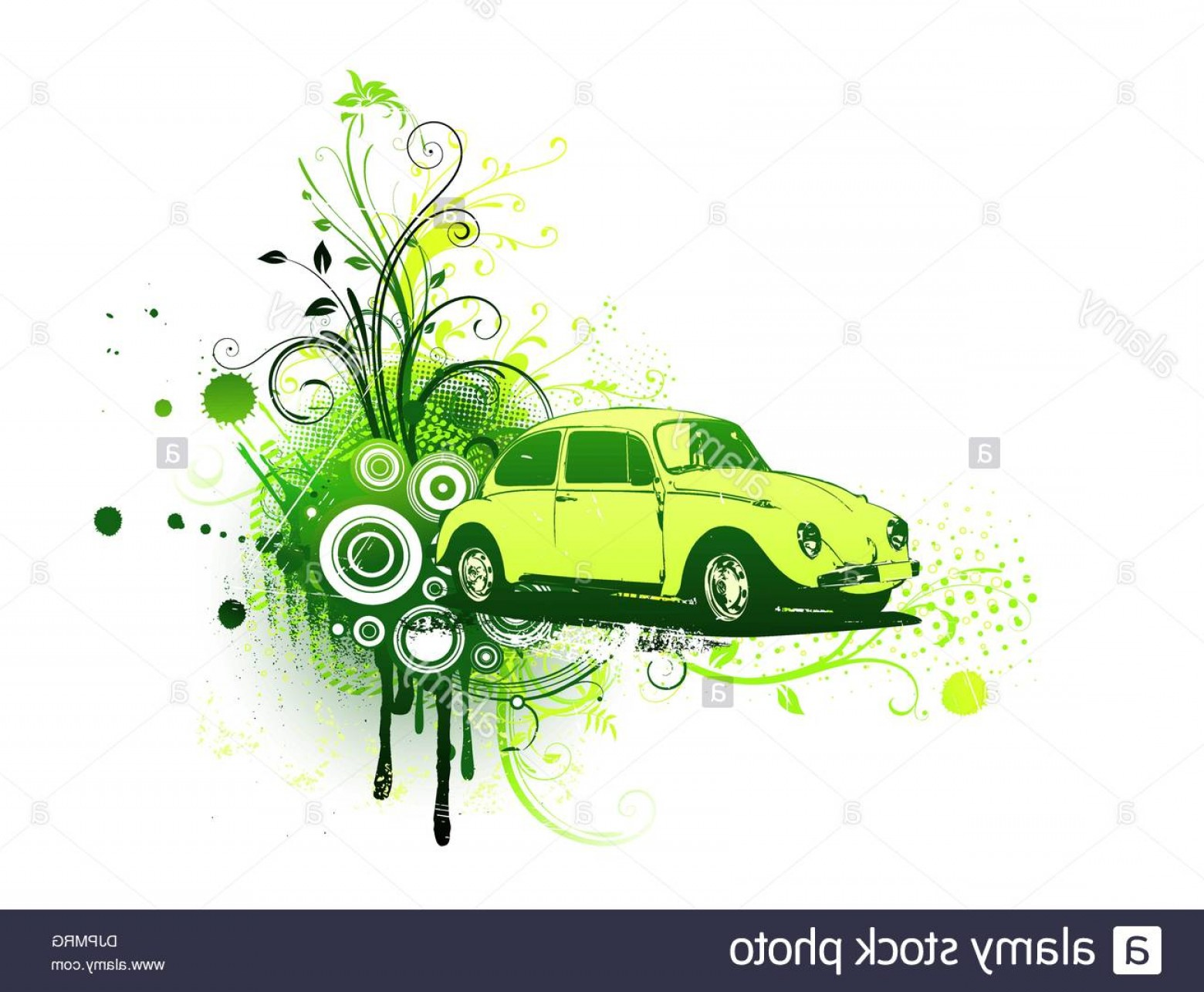 VW Vector Graphic: Stock Photo Vector Illustration Of Old Green Custom Volkswagen Beatle On The Grunge