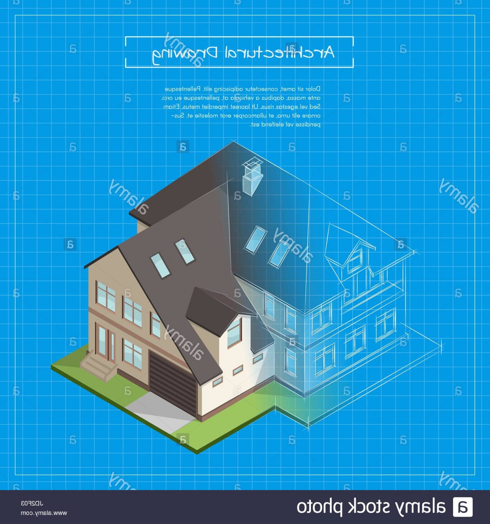 Residential Blueprint Vector Black: Stock Photo Vector Isometric D Illustration Of City Building Blueprint Architectural