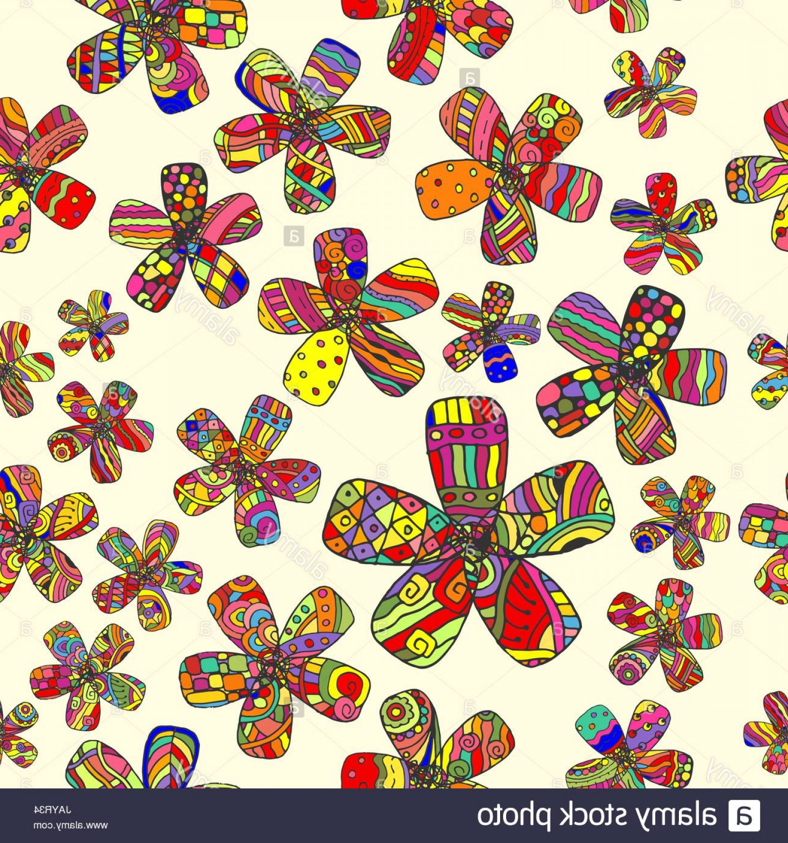 60s Vector: Stock Photo Vector Pattern S Seamless Background Inspired Flower Power Counterculture