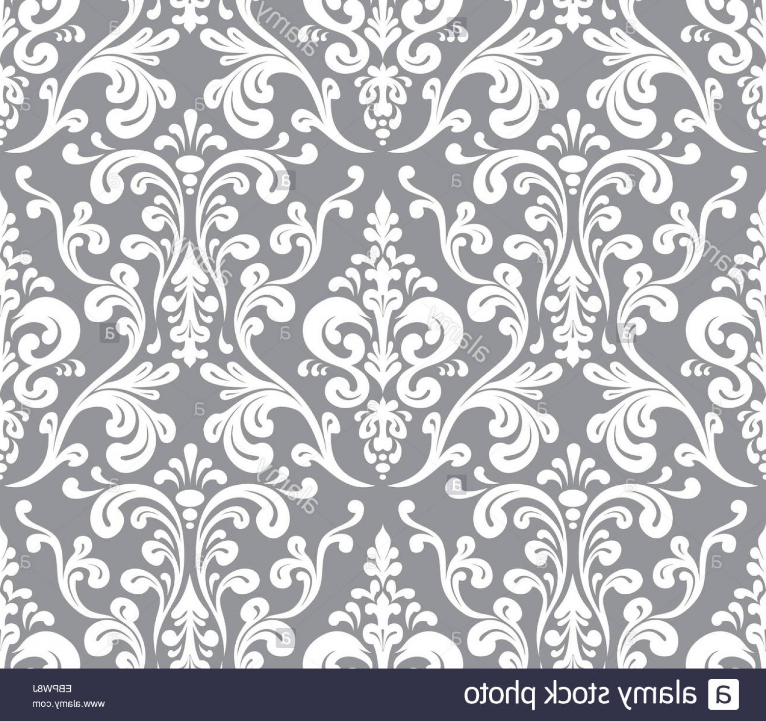 Damask Background Vector Art: Stock Photo Vector Seamless Elegant Damask Pattern Grey And White