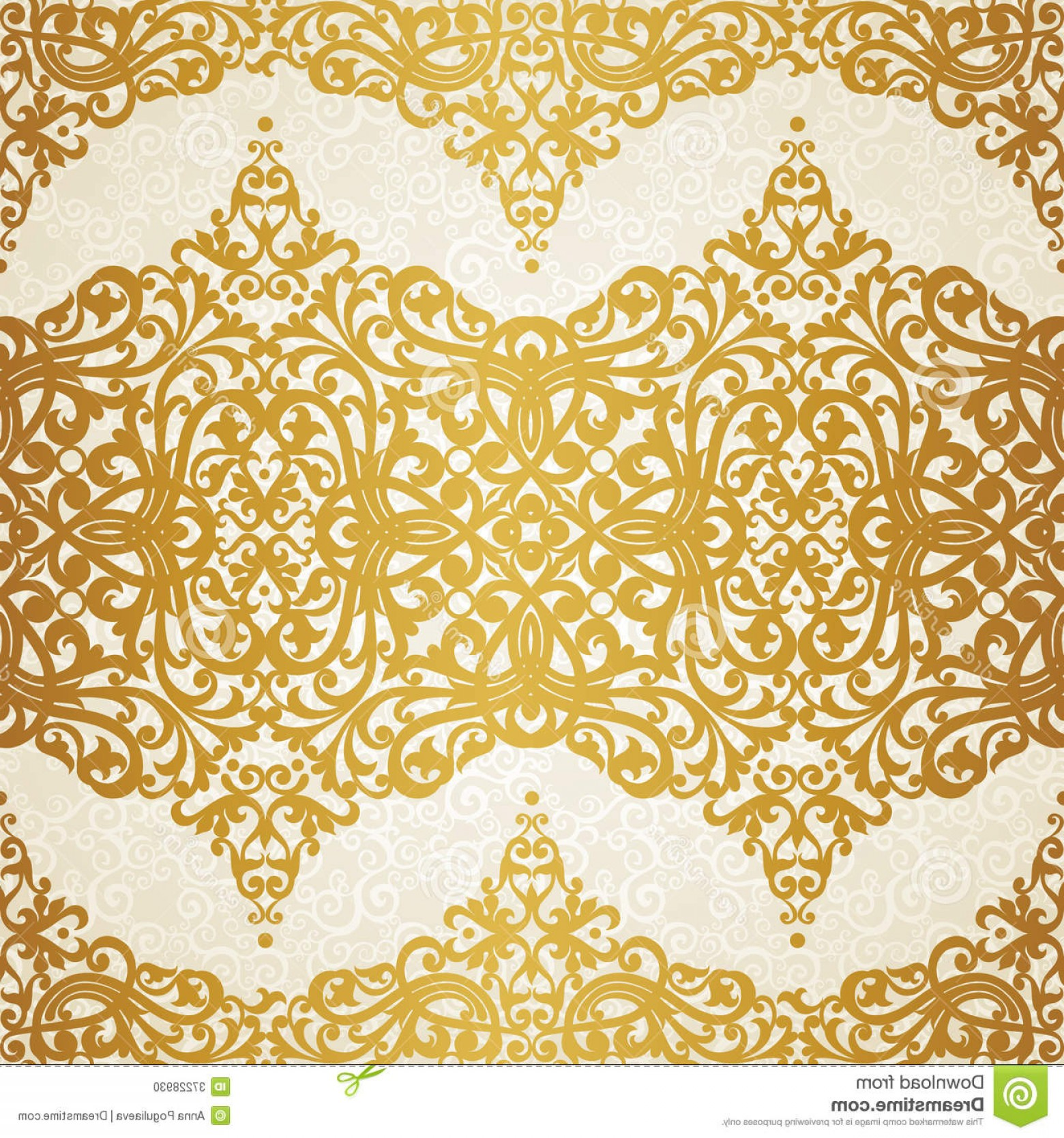 Victorian Motif Vector: Stock Photo Vector Seamless Pattern Swirls Floral Motifs Retro Style Golden Victorian Background Can Be Used Wallpaper Image