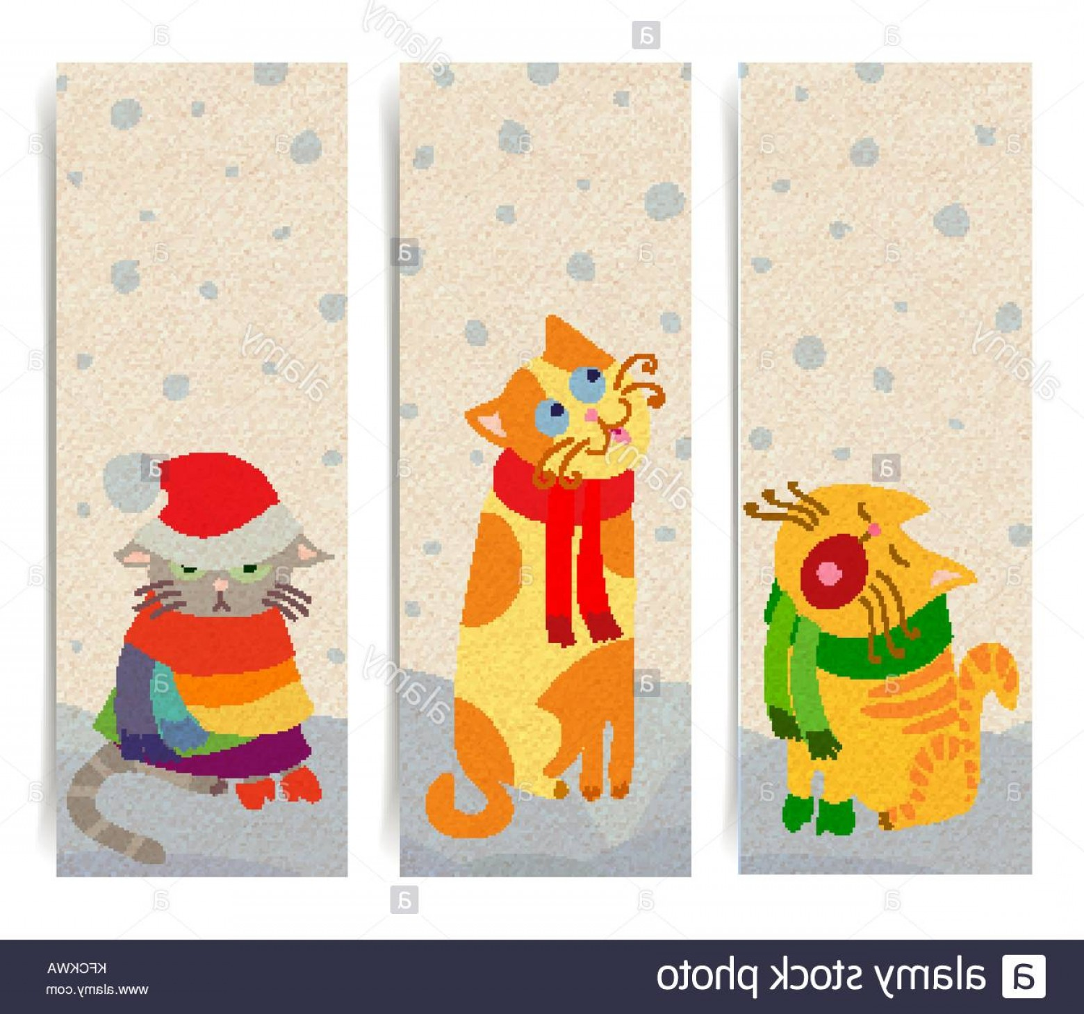 Vector Cats 3: Stock Photo Vector Set Of Vertical Banners With Christmas Cats Transparent Shadows
