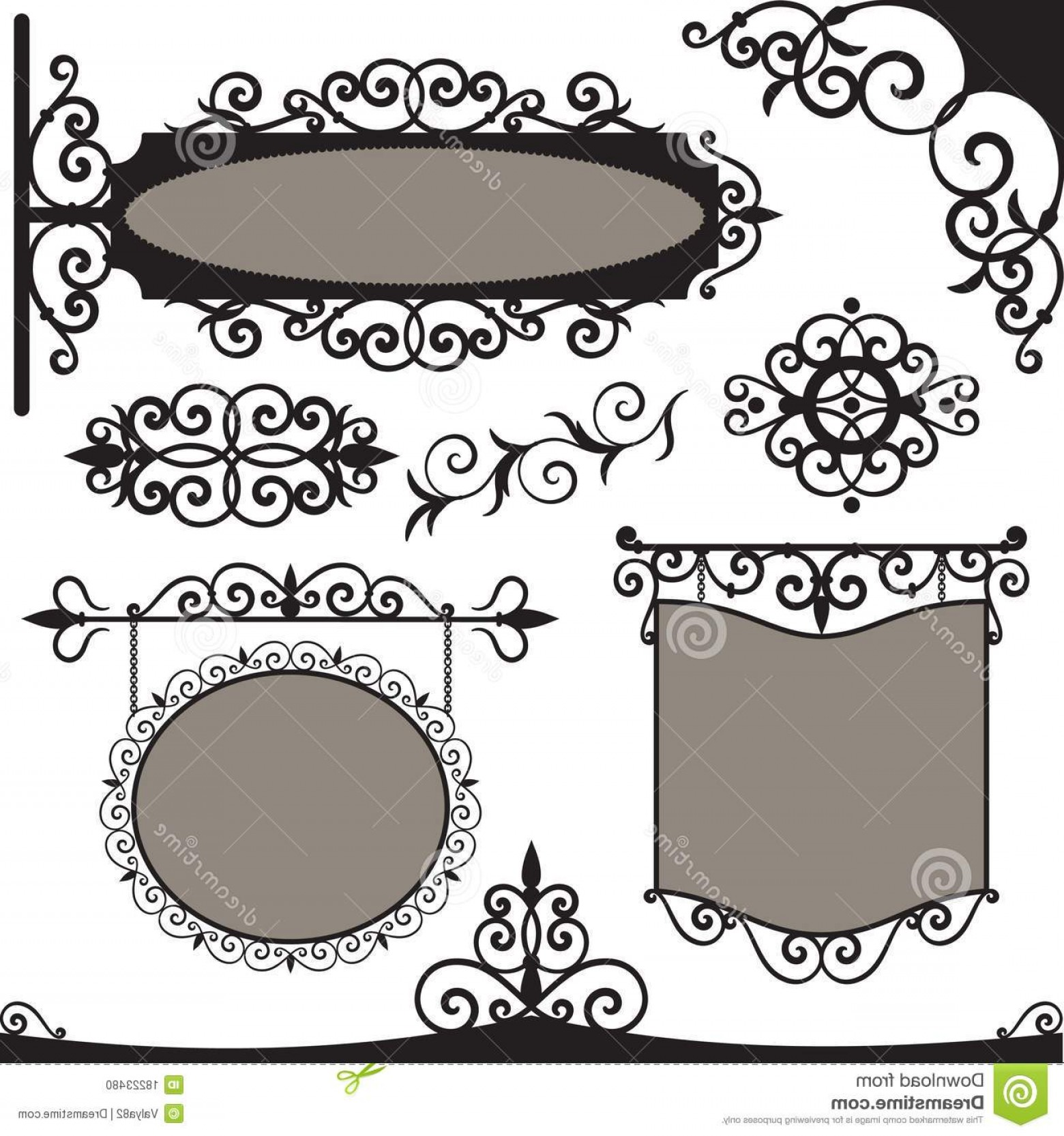 Vintage Sign Vector Clip Art: Stock Photo Vector Set Wrought Iron Vintage Signs Image