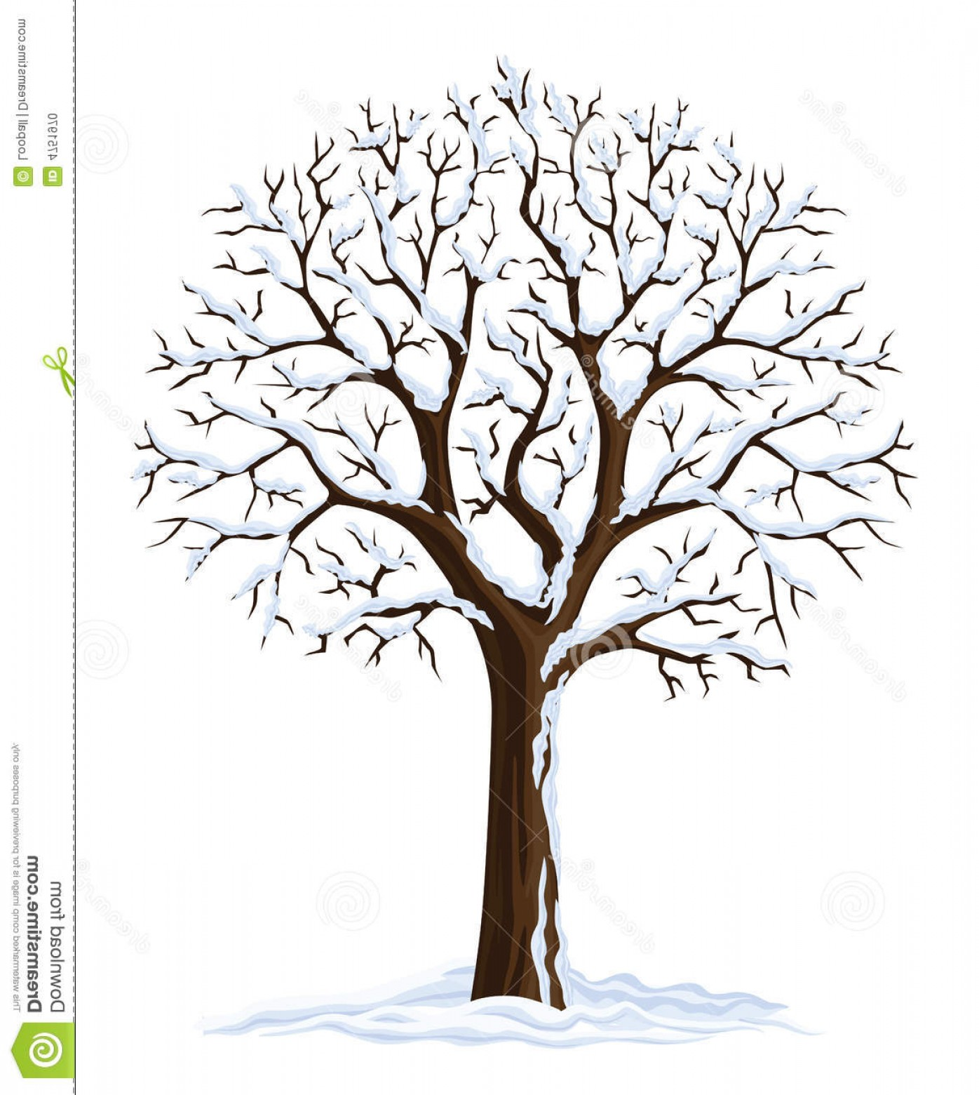 Winter Tree Silhouette Vector: Stock Photo Vector Silhouette Winter Tree Image
