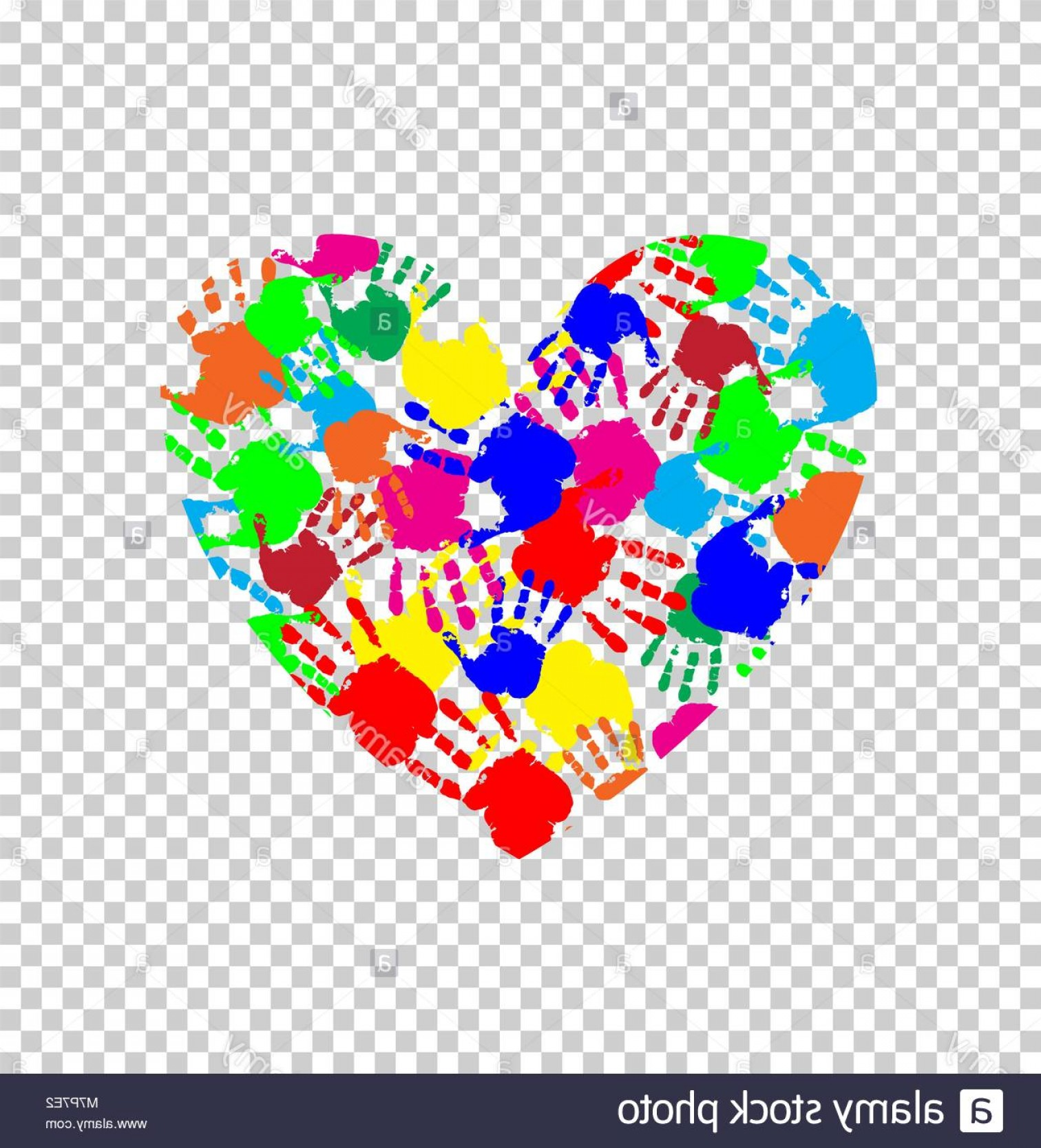 Hand Prints Vector Transparent Background: Stock Photo Vibrant Heart Icon Made Of Colored Hand Prints Isolated On Transparent